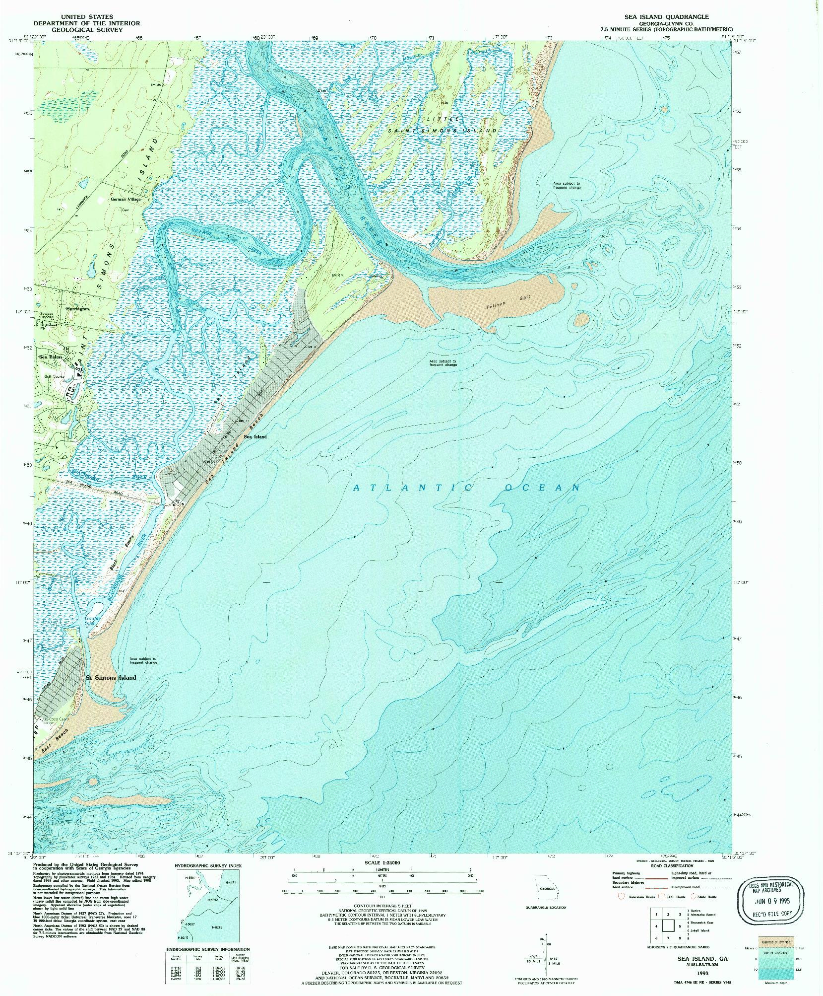USGS 1:24000-SCALE QUADRANGLE FOR SEA ISLAND, GA 1993
