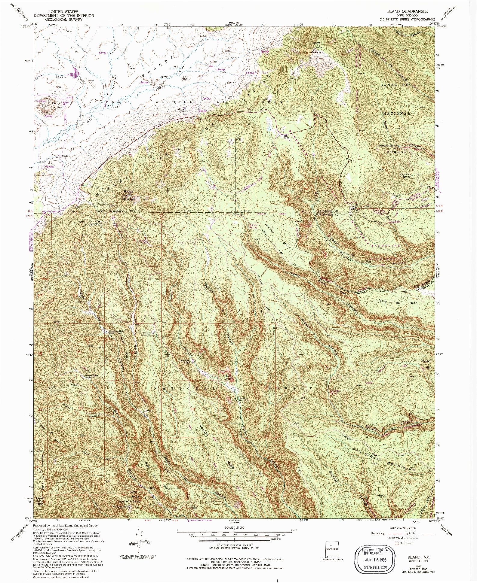 USGS 1:24000-SCALE QUADRANGLE FOR BLAND, NM 1953