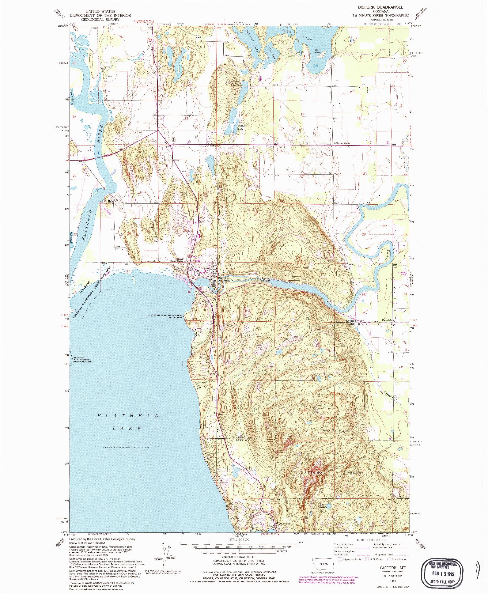 USGS 1:24000-SCALE QUADRANGLE FOR BIGFORK, MT 1991