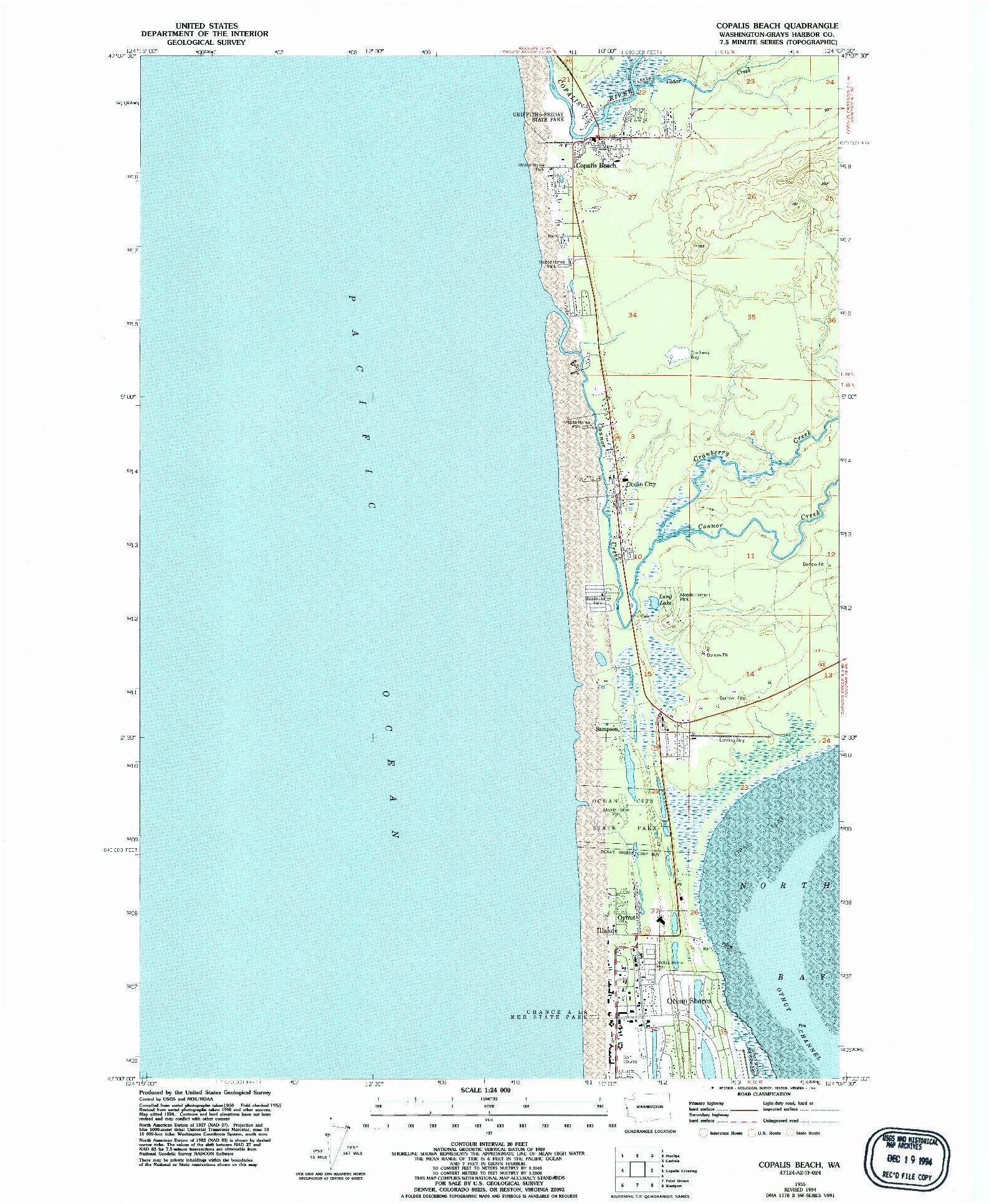 USGS 1:24000-SCALE QUADRANGLE FOR COPALIS BEACH, WA 1955