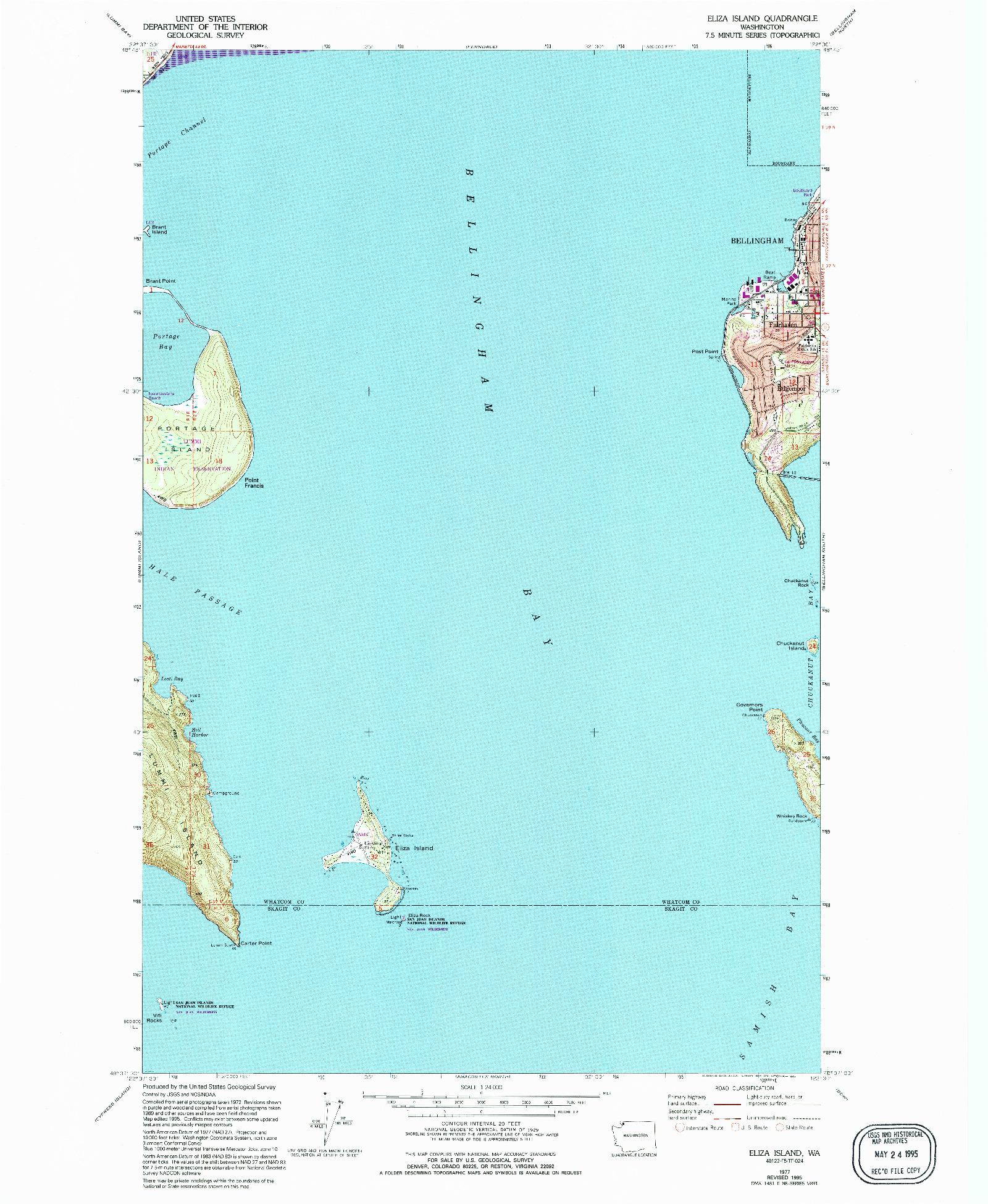USGS 1:24000-SCALE QUADRANGLE FOR ELIZA ISLAND, WA 1977