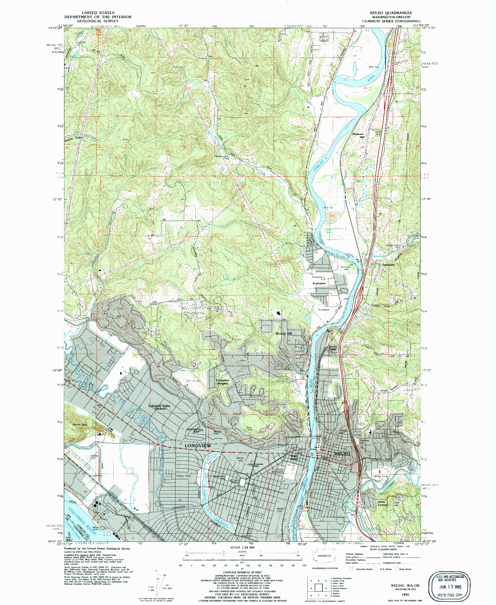 USGS 1:24000-SCALE QUADRANGLE FOR KELSO, WA 1990