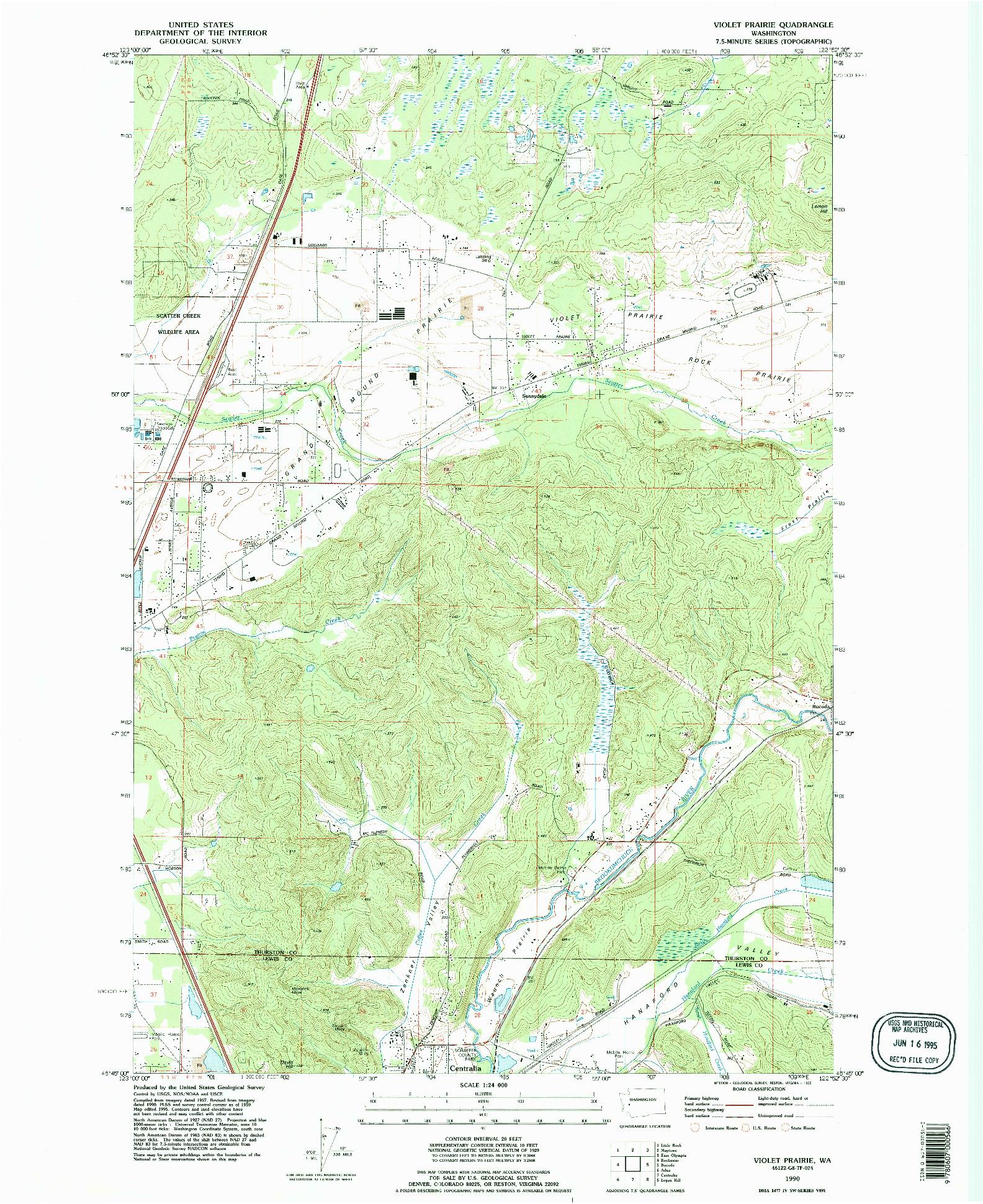 USGS 1:24000-SCALE QUADRANGLE FOR VIOLET PRAIRIE, WA 1990