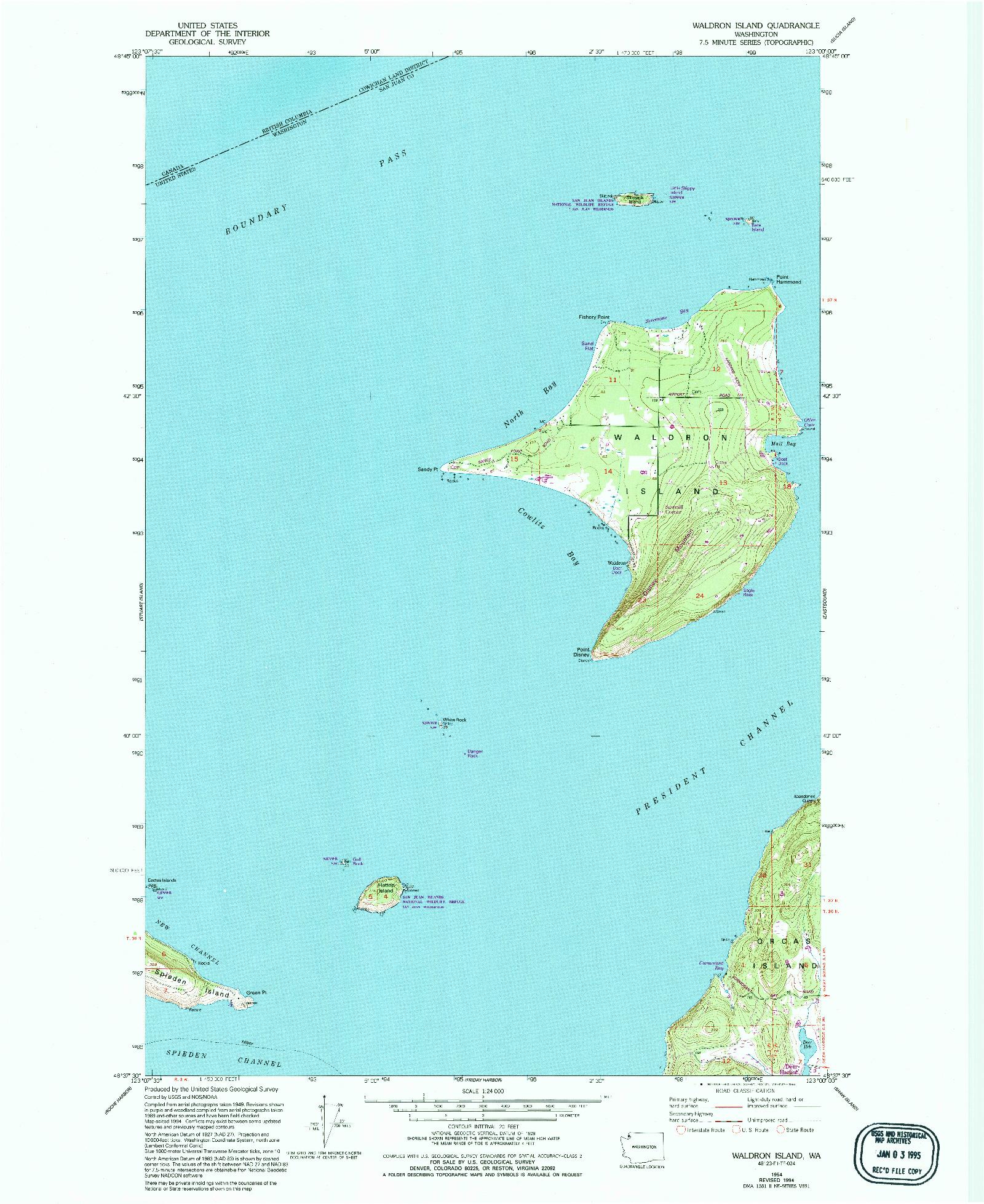 USGS 1:24000-SCALE QUADRANGLE FOR WALDRON ISLAND, WA 1954