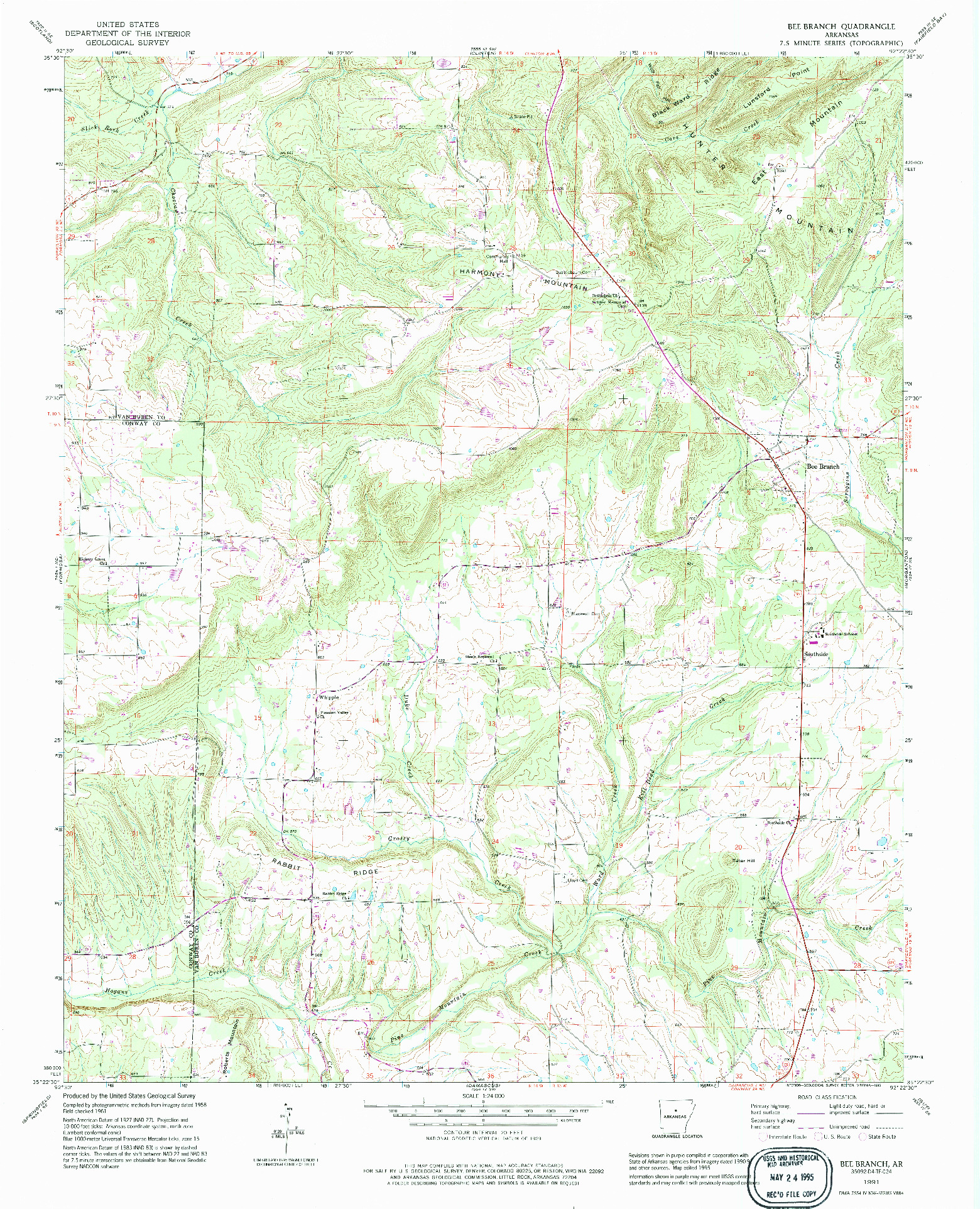 USGS 1:24000-SCALE QUADRANGLE FOR BEE BRANCH, AR 1991