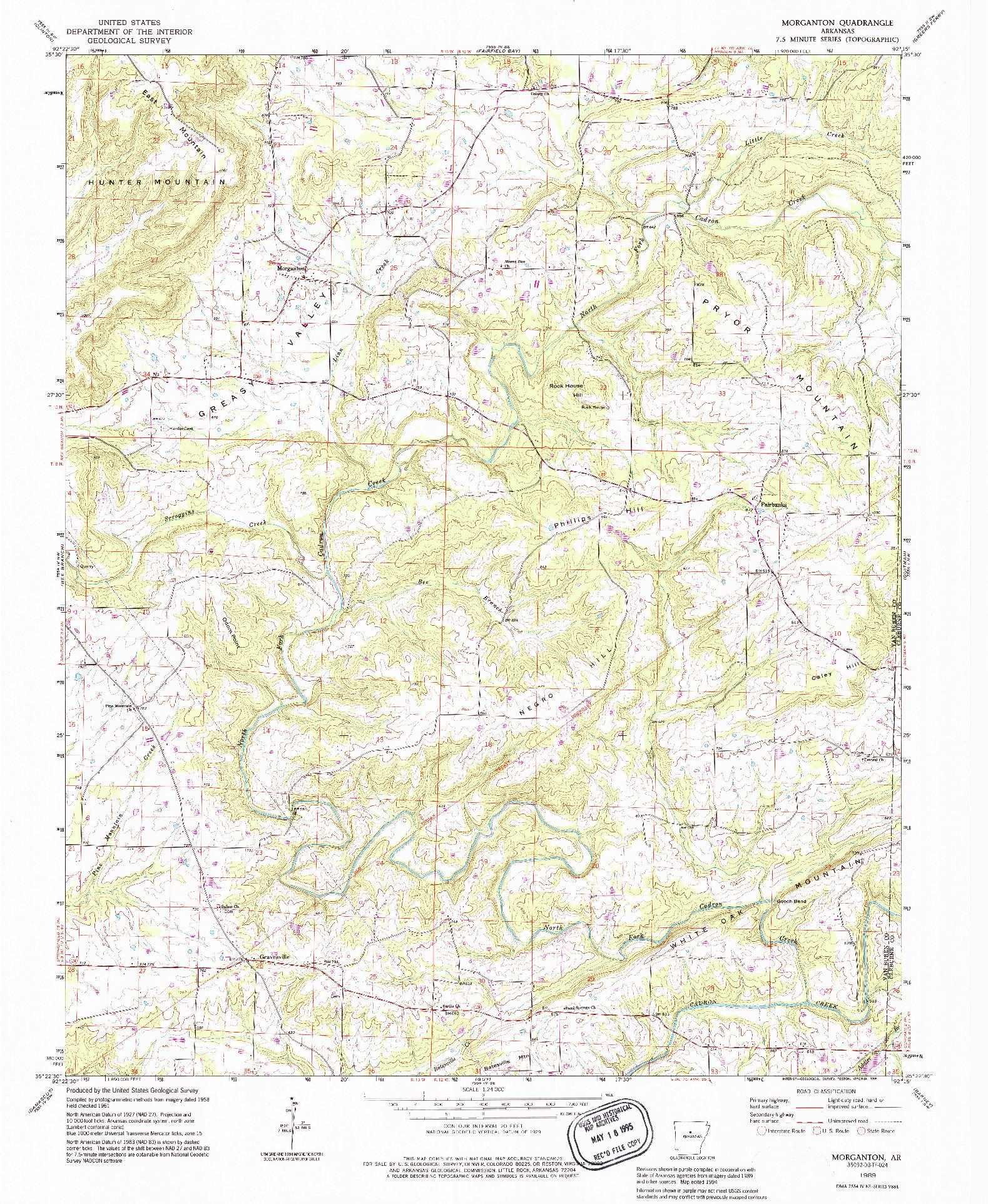 USGS 1:24000-SCALE QUADRANGLE FOR MORGANTON, AR 1989