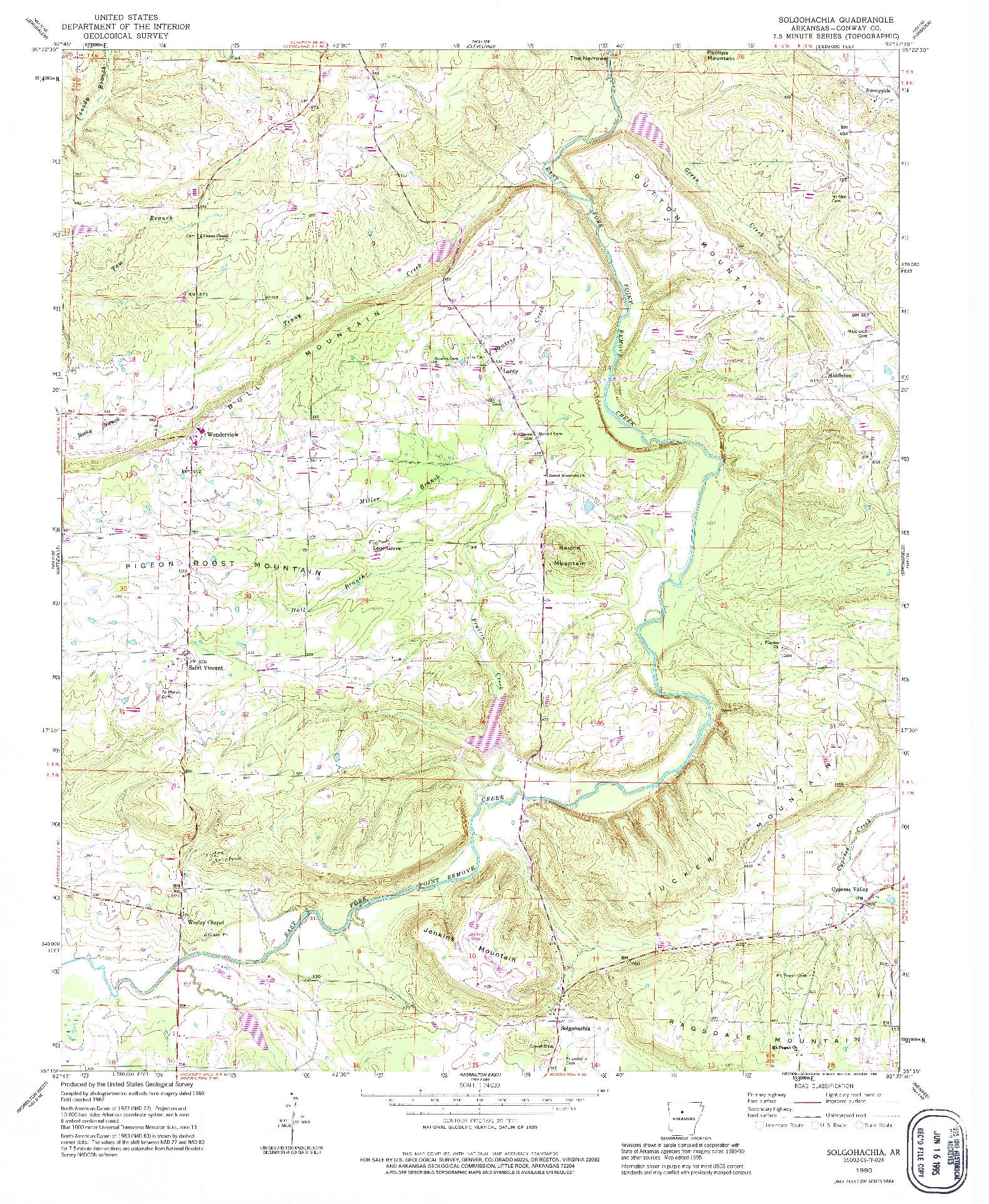 USGS 1:24000-SCALE QUADRANGLE FOR SOLGOHACHIA, AR 1990