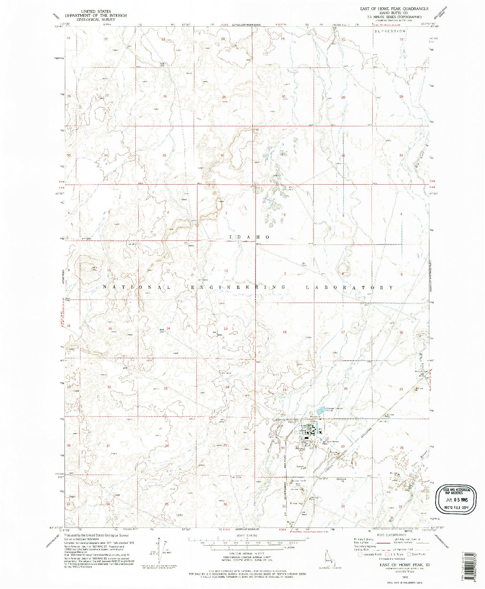 USGS 1:24000-SCALE QUADRANGLE FOR EAST OF HOWE PEAK, ID 1973