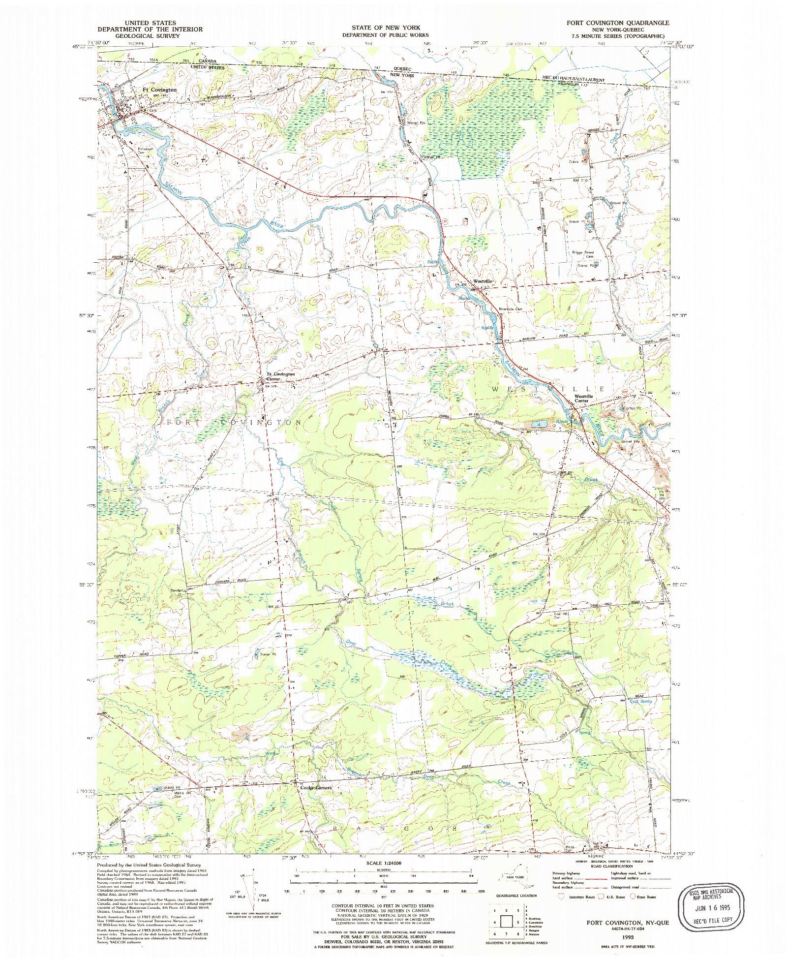 USGS 1:24000-SCALE QUADRANGLE FOR FORT COVINGTON, NY 1993