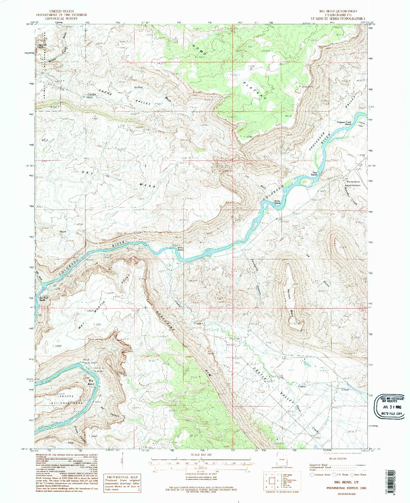 USGS 1:24000-SCALE QUADRANGLE FOR BIG BEND, UT 1985