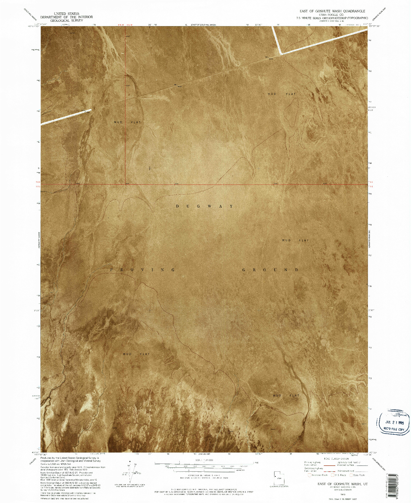 USGS 1:24000-SCALE QUADRANGLE FOR EAST OF GOSHUTE WASH, UT 1973