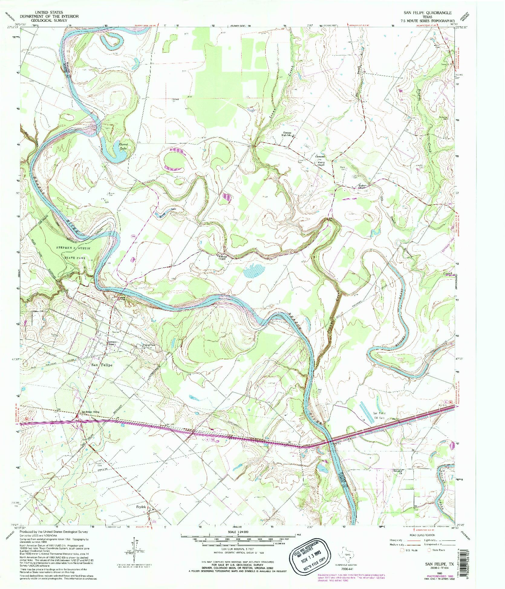 USGS 1:24000-SCALE QUADRANGLE FOR SAN FELIPE, TX 1960