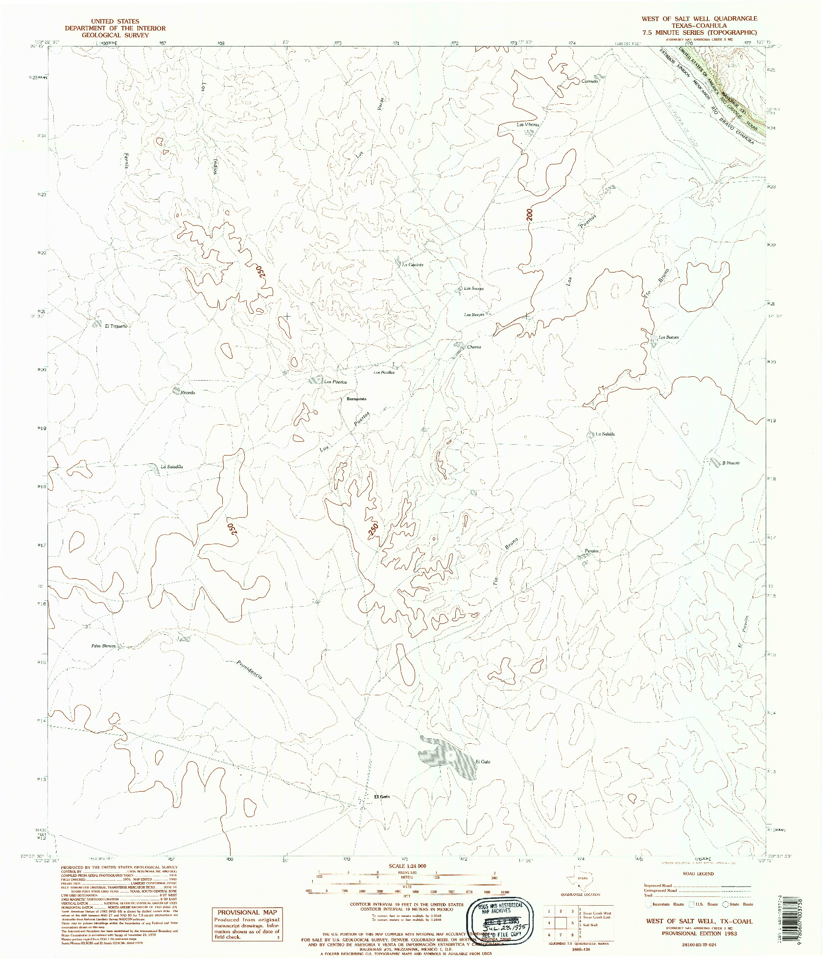USGS 1:24000-SCALE QUADRANGLE FOR WEST OF SALT WELL, TX 1983