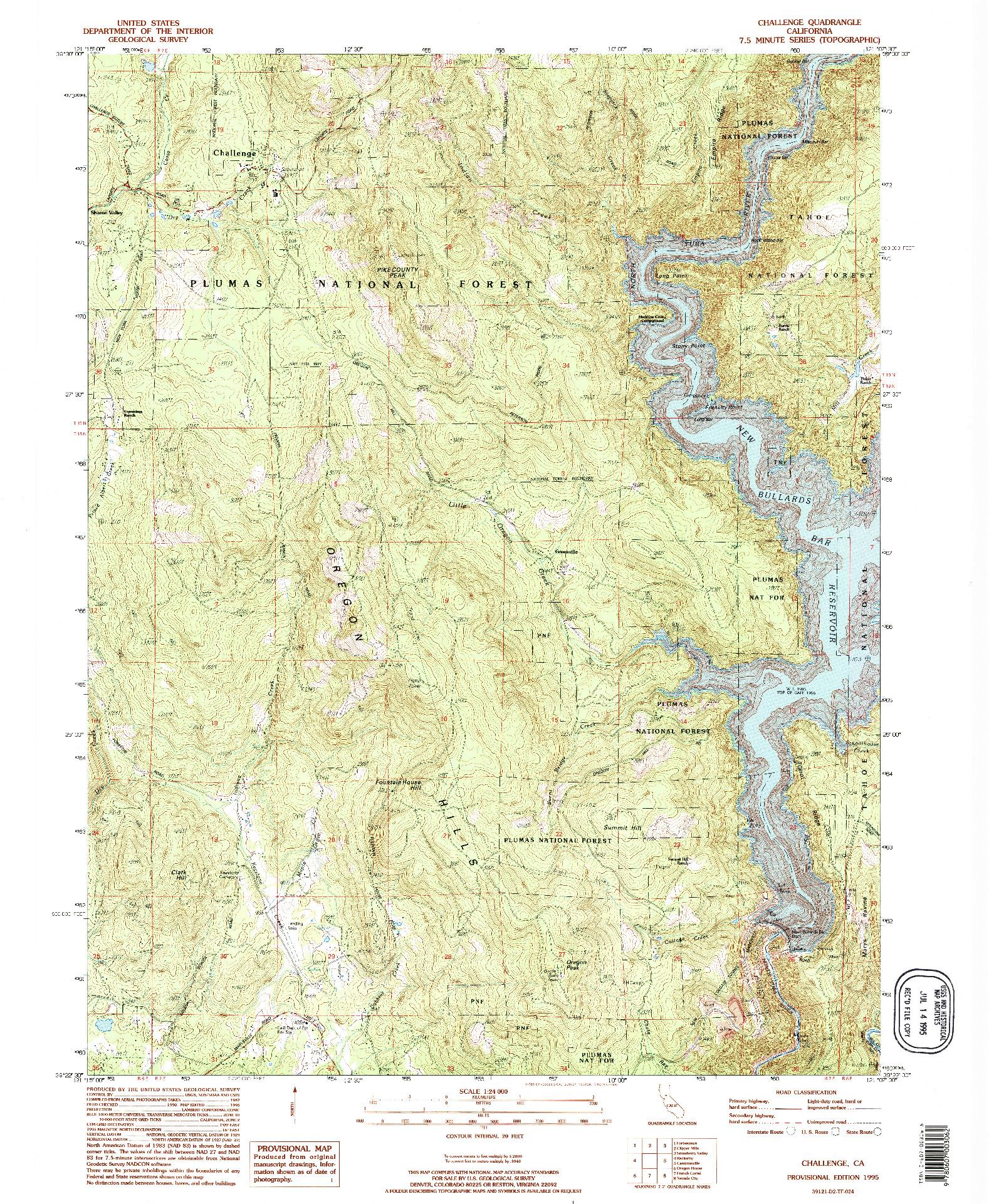 USGS 1:24000-SCALE QUADRANGLE FOR CHALLENGE, CA 1995