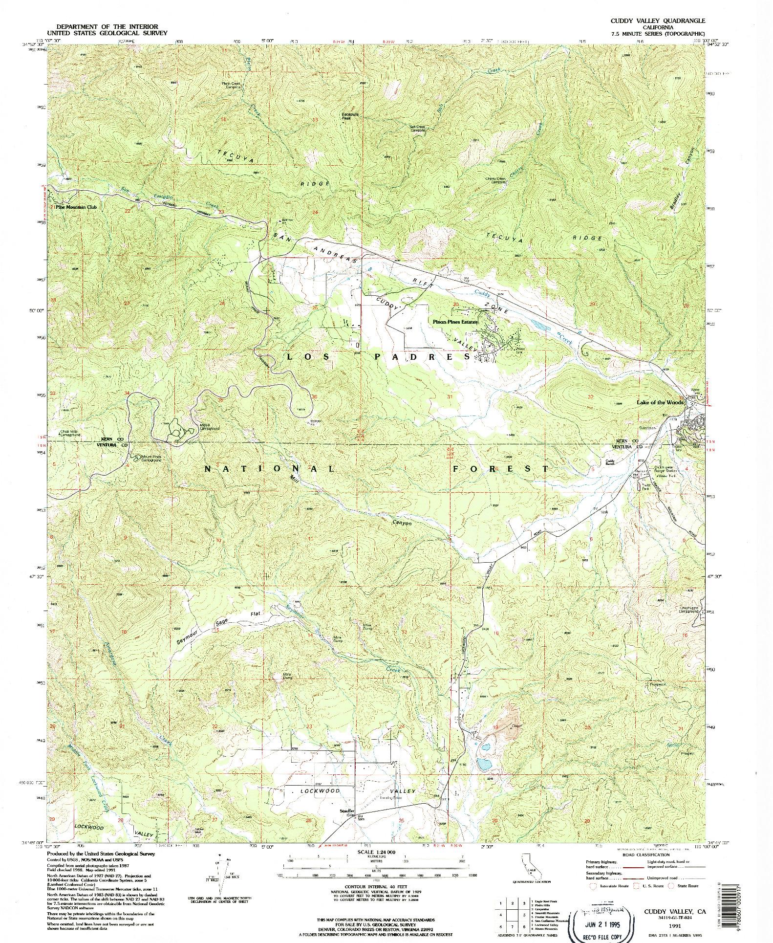 USGS 1:24000-SCALE QUADRANGLE FOR CUDDY VALLEY, CA 1991