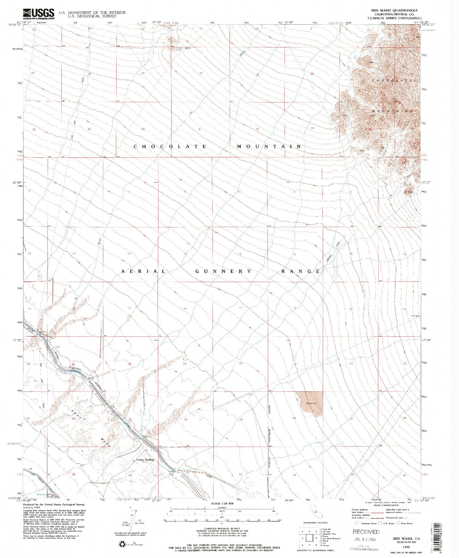 USGS 1:24000-SCALE QUADRANGLE FOR IRIS WASH, CA 1992