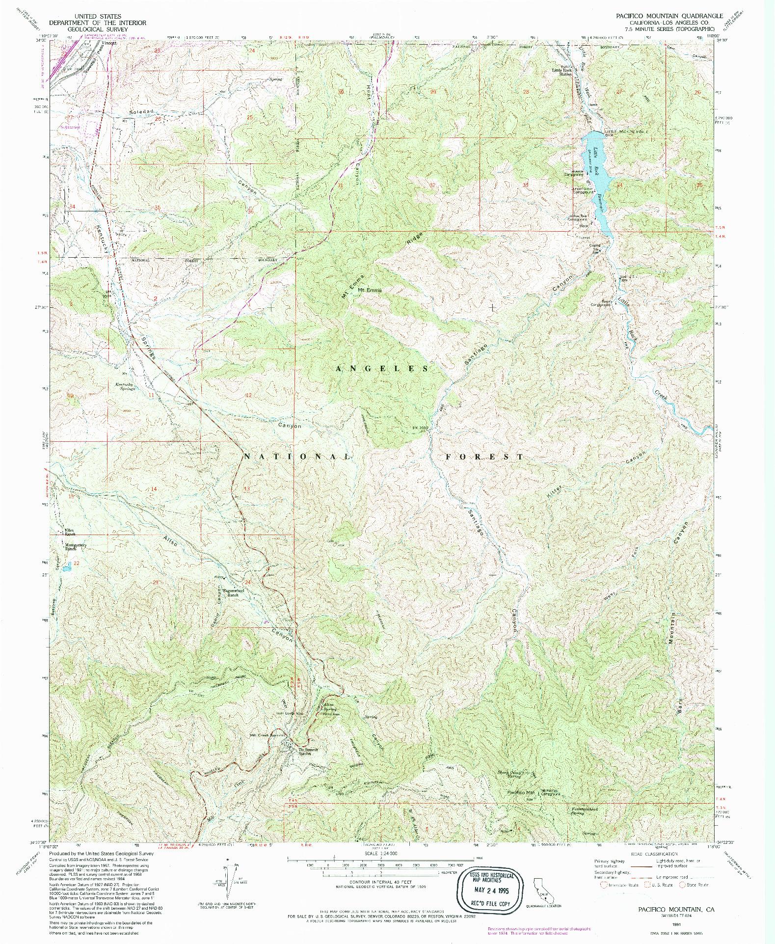 USGS 1:24000-SCALE QUADRANGLE FOR PACIFICO MOUNTAIN, CA 1991