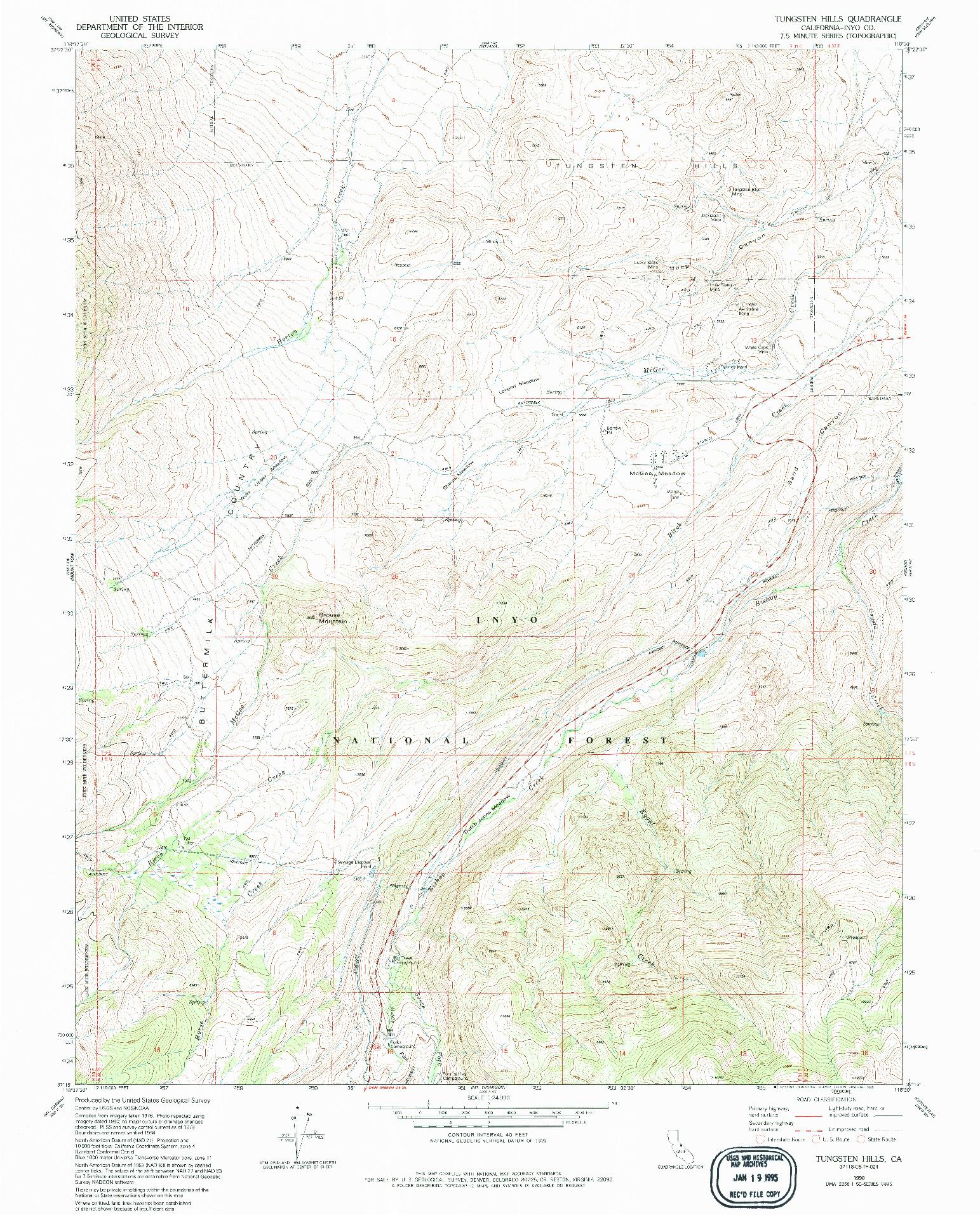 USGS 1:24000-SCALE QUADRANGLE FOR TUNGSTEN HILLS, CA 1990