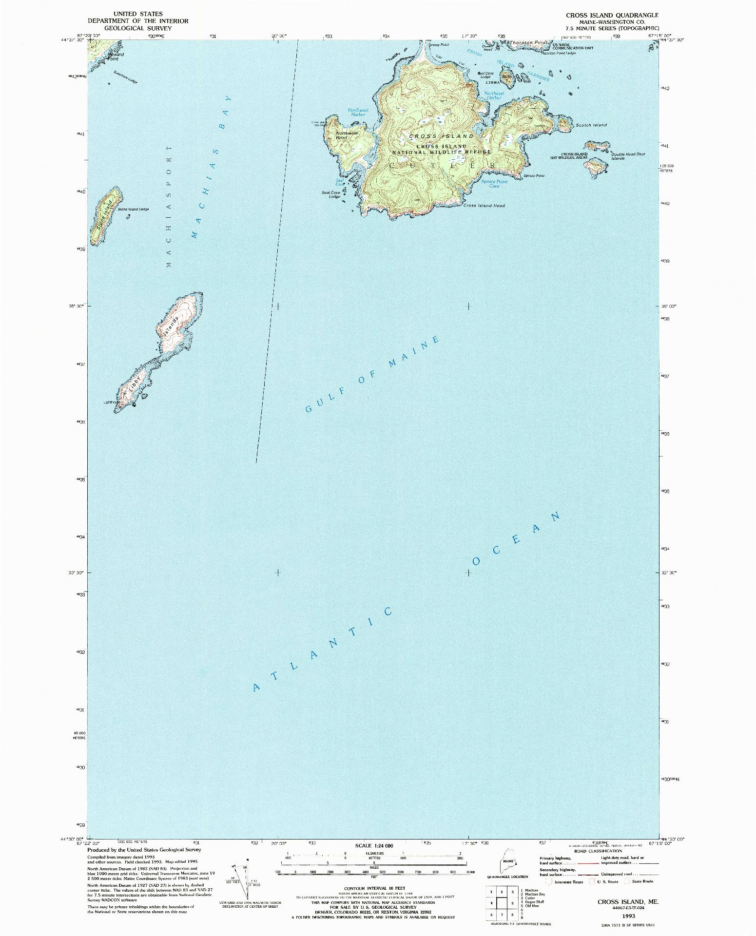 USGS 1:24000-SCALE QUADRANGLE FOR CROSS ISLAND, ME 1993