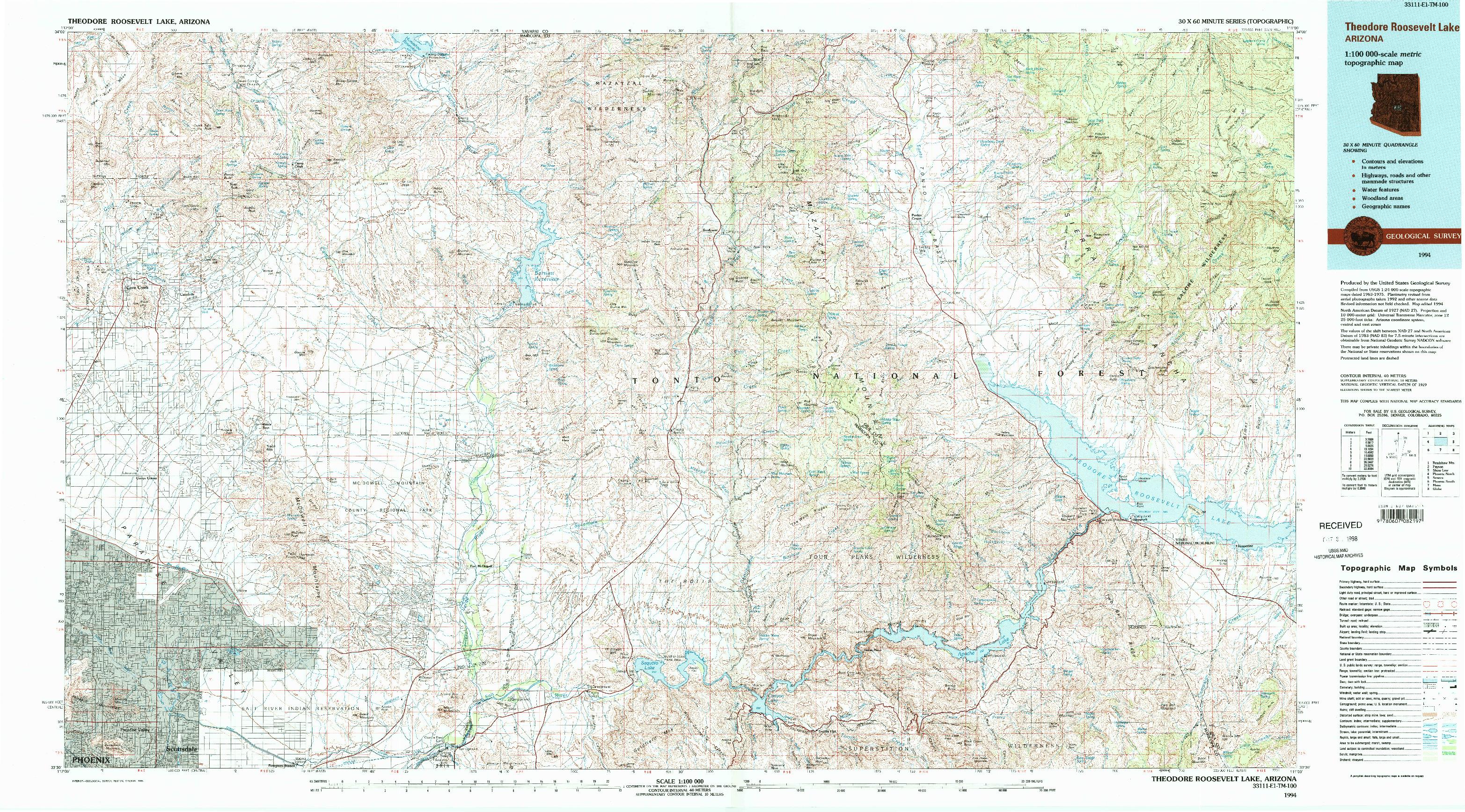 USGS 1:100000-SCALE QUADRANGLE FOR THEODORE ROOSEVELT LAKE, AZ 1994