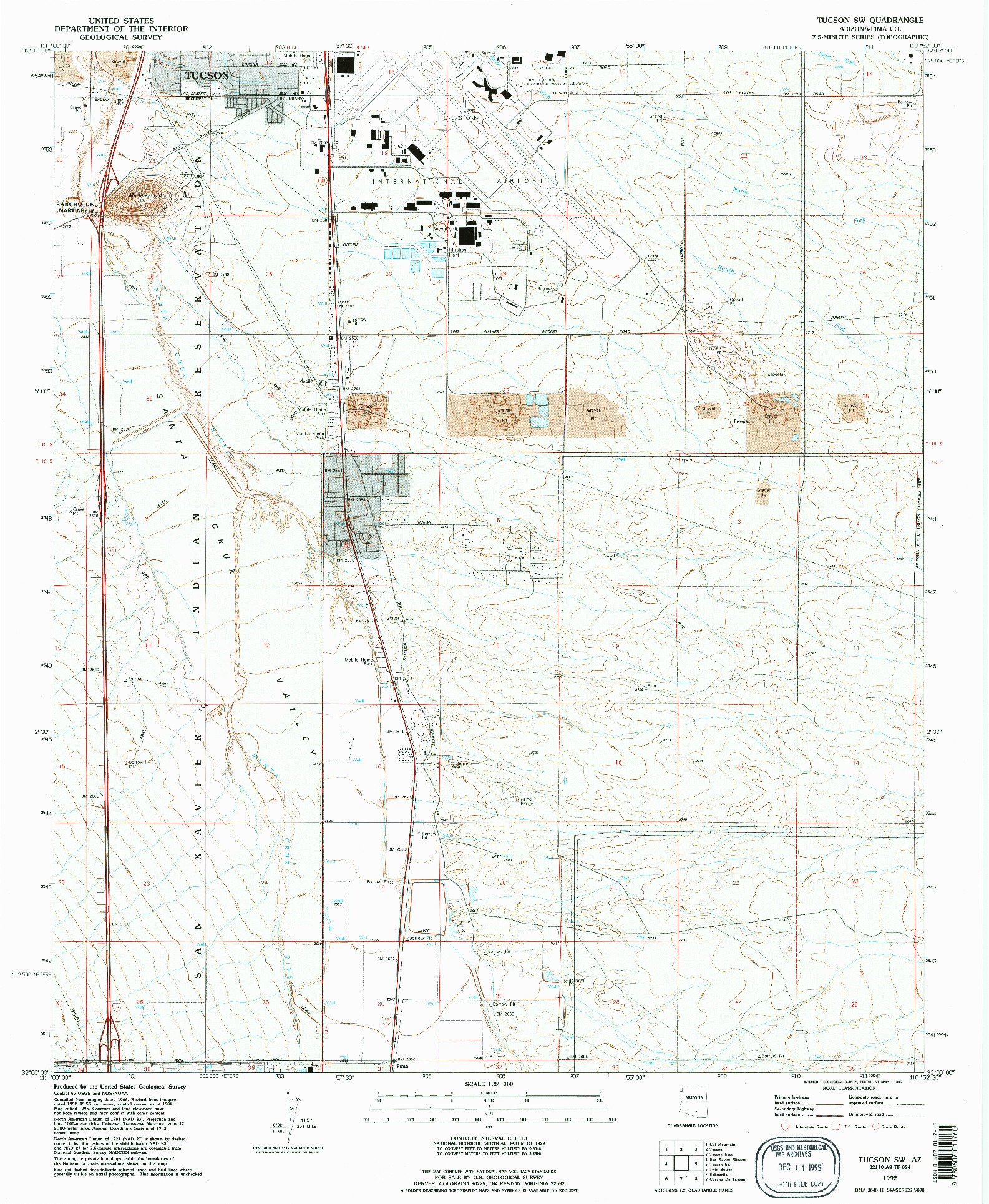 USGS 1:24000-SCALE QUADRANGLE FOR TUCSON SW, AZ 1992
