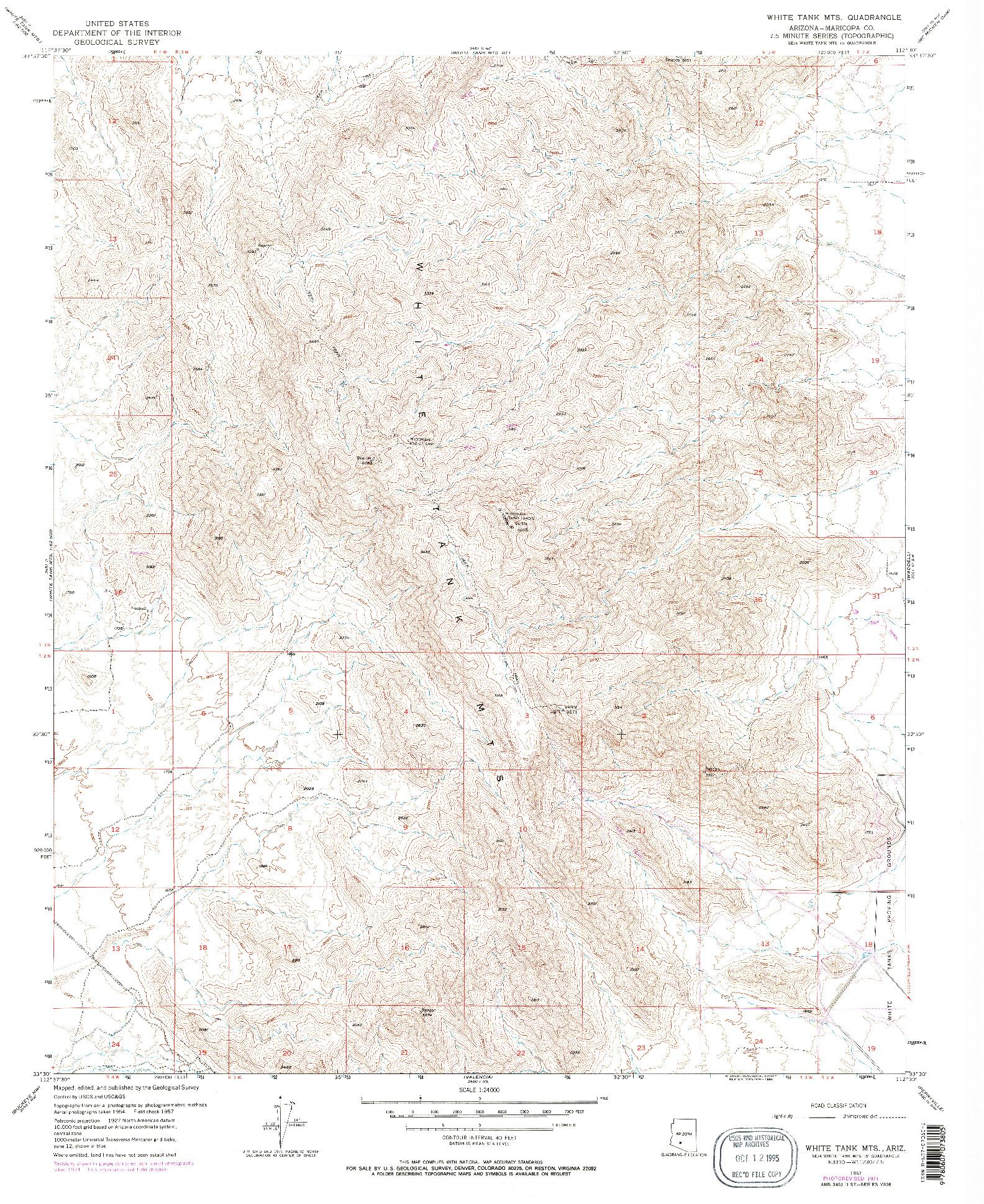 USGS 1:24000-SCALE QUADRANGLE FOR WHITE TANK MTS, AZ 1957