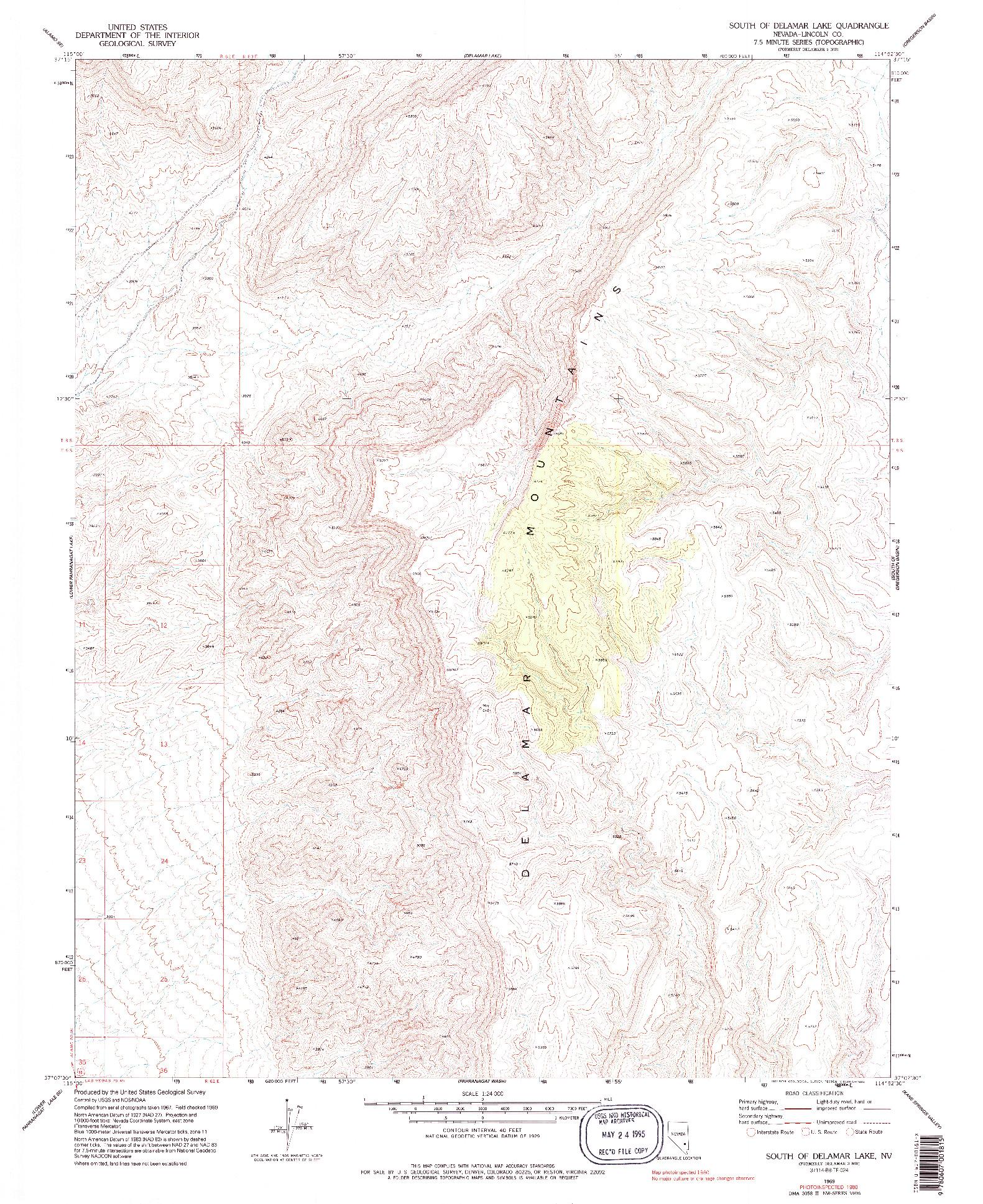 USGS 1:24000-SCALE QUADRANGLE FOR SOUTH OF DELAMAR LAKE, NV 1969
