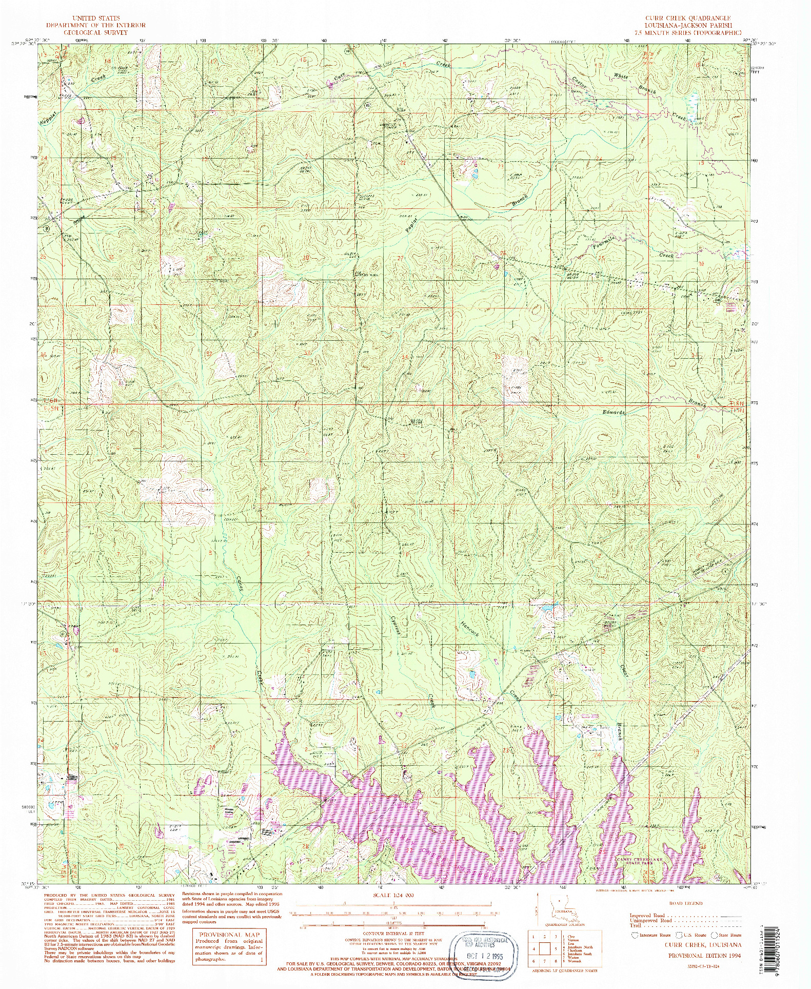 USGS 1:24000-SCALE QUADRANGLE FOR CURR CREEK, LA 1994