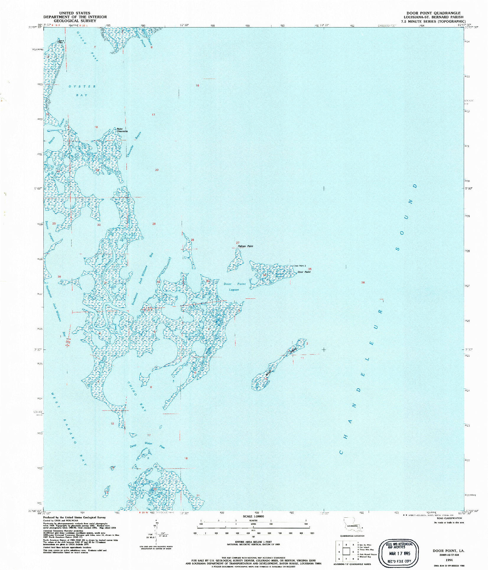 USGS 1:24000-SCALE QUADRANGLE FOR DOOR POINT, LA 1994