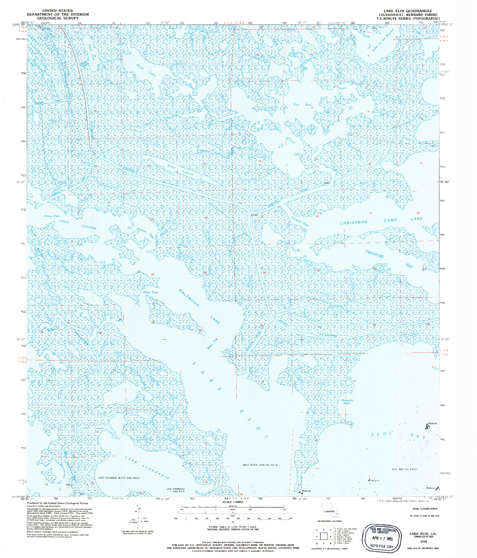 USGS 1:24000-SCALE QUADRANGLE FOR LAKE ELOI, LA 1994