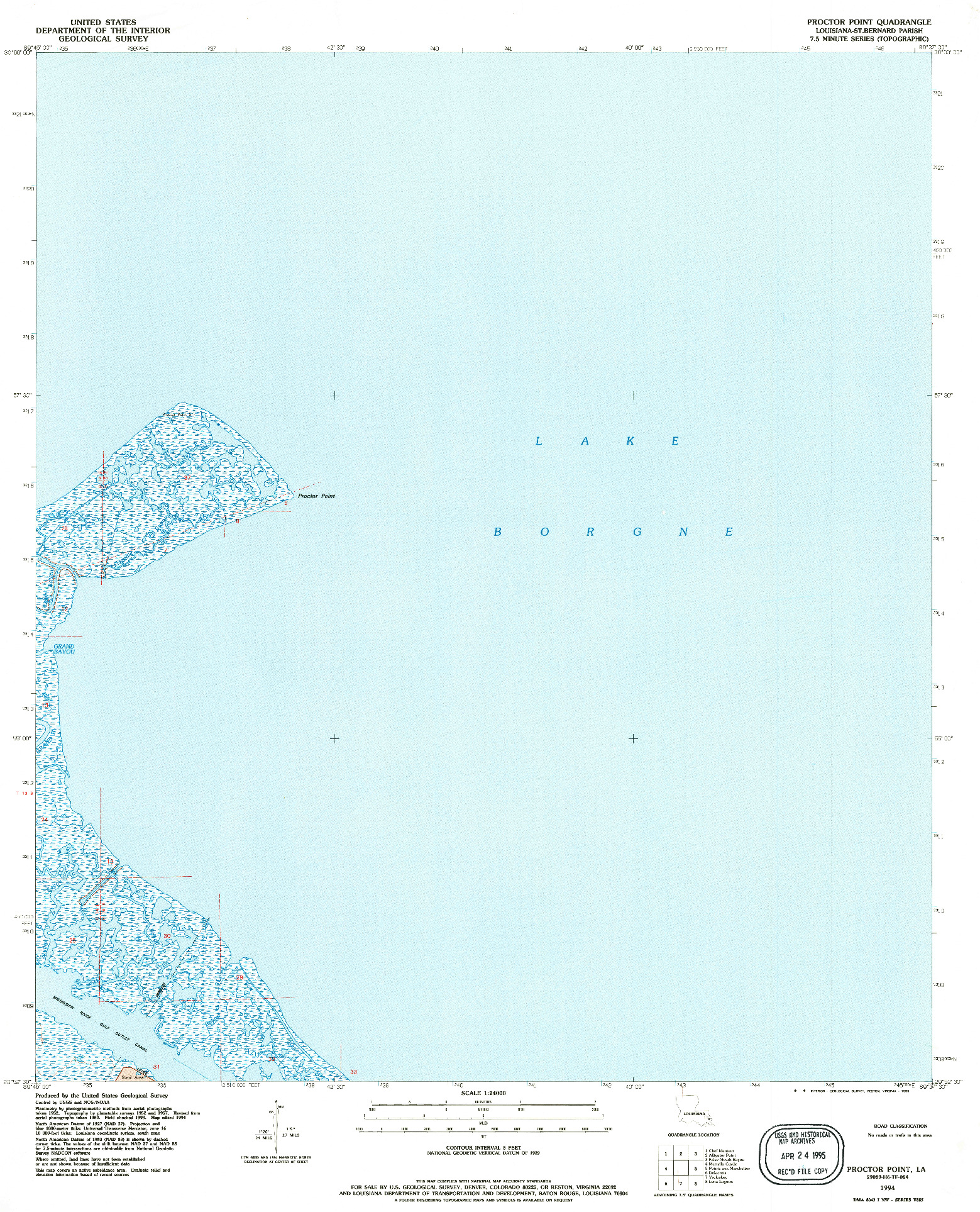 USGS 1:24000-SCALE QUADRANGLE FOR PROCTOR POINT, LA 1994
