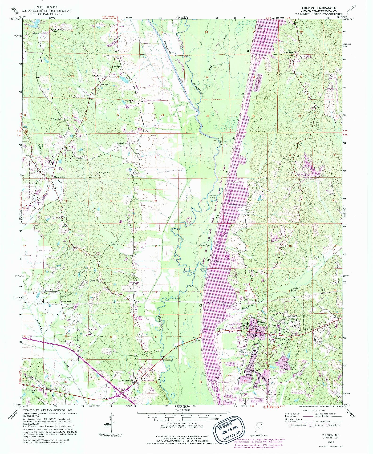 USGS 1:24000-SCALE QUADRANGLE FOR FULTON, MS 1992