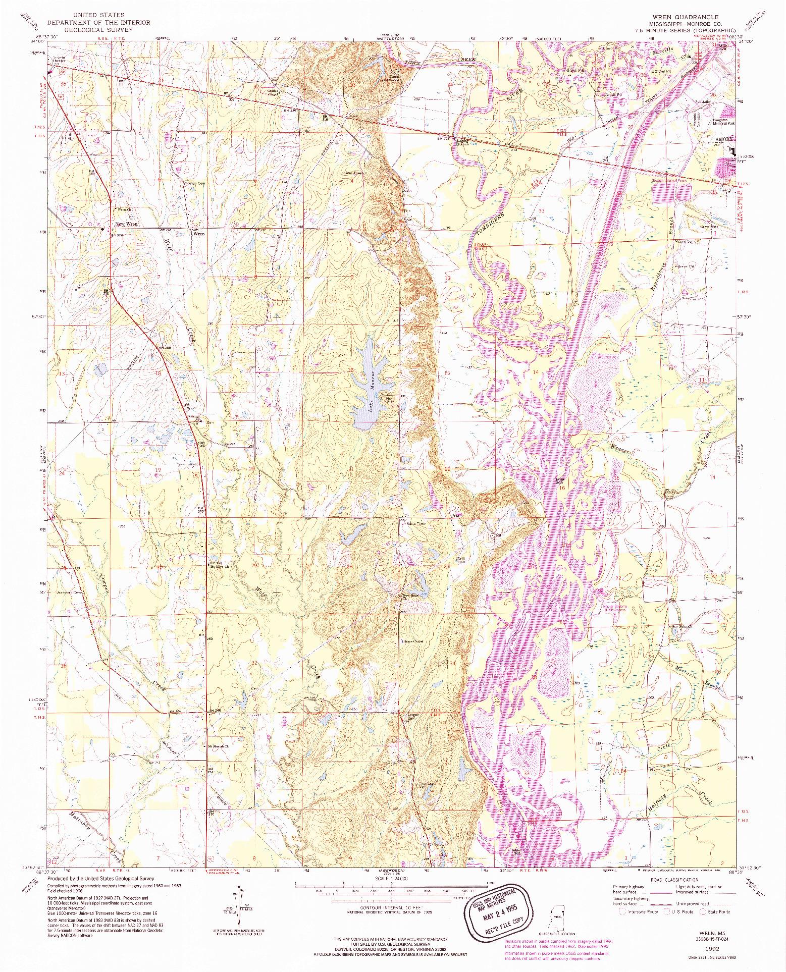 USGS 1:24000-SCALE QUADRANGLE FOR WREN, MS 1992