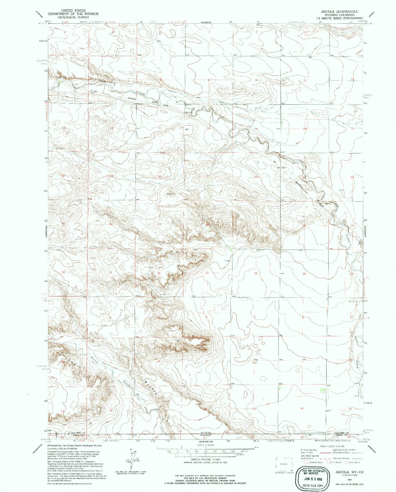 USGS 1:24000-SCALE QUADRANGLE FOR ARCOLA, WY 1991