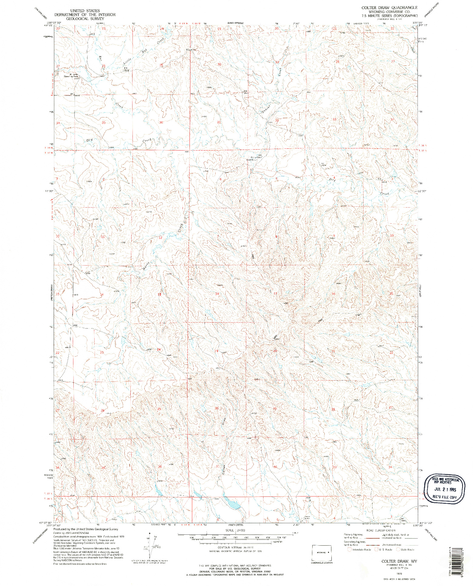 USGS 1:24000-SCALE QUADRANGLE FOR COLTER DRAW, WY 1970