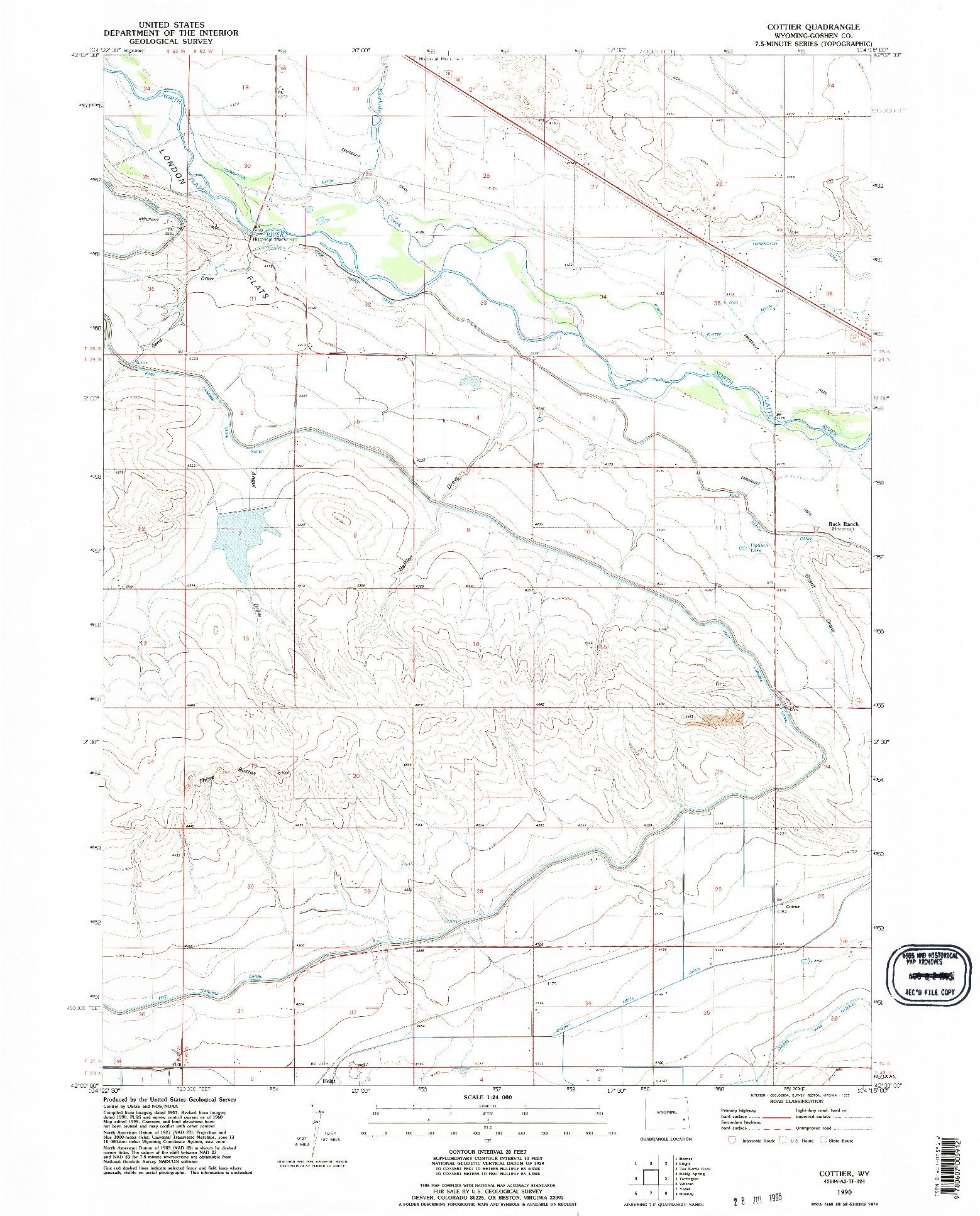 USGS 1:24000-SCALE QUADRANGLE FOR COTTIER, WY 1990