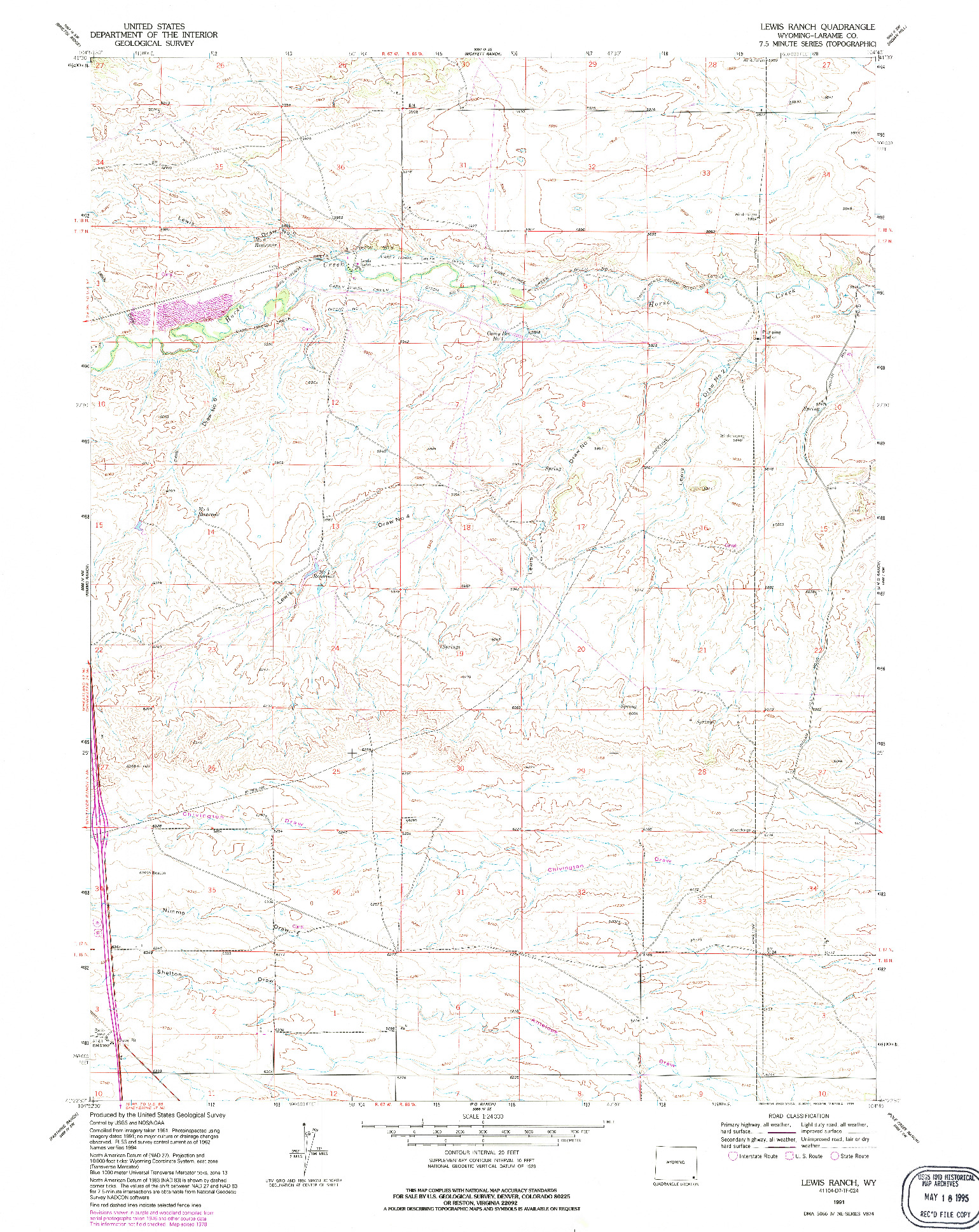 USGS 1:24000-SCALE QUADRANGLE FOR LEWIS RANCH, WY 1991