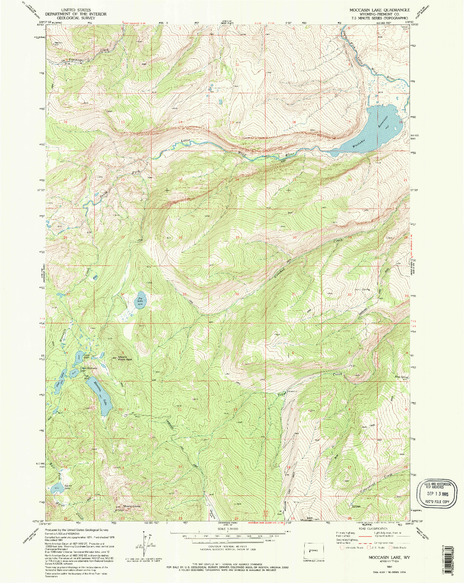 USGS 1:24000-SCALE QUADRANGLE FOR MOCCASIN LAKE, WY 1981