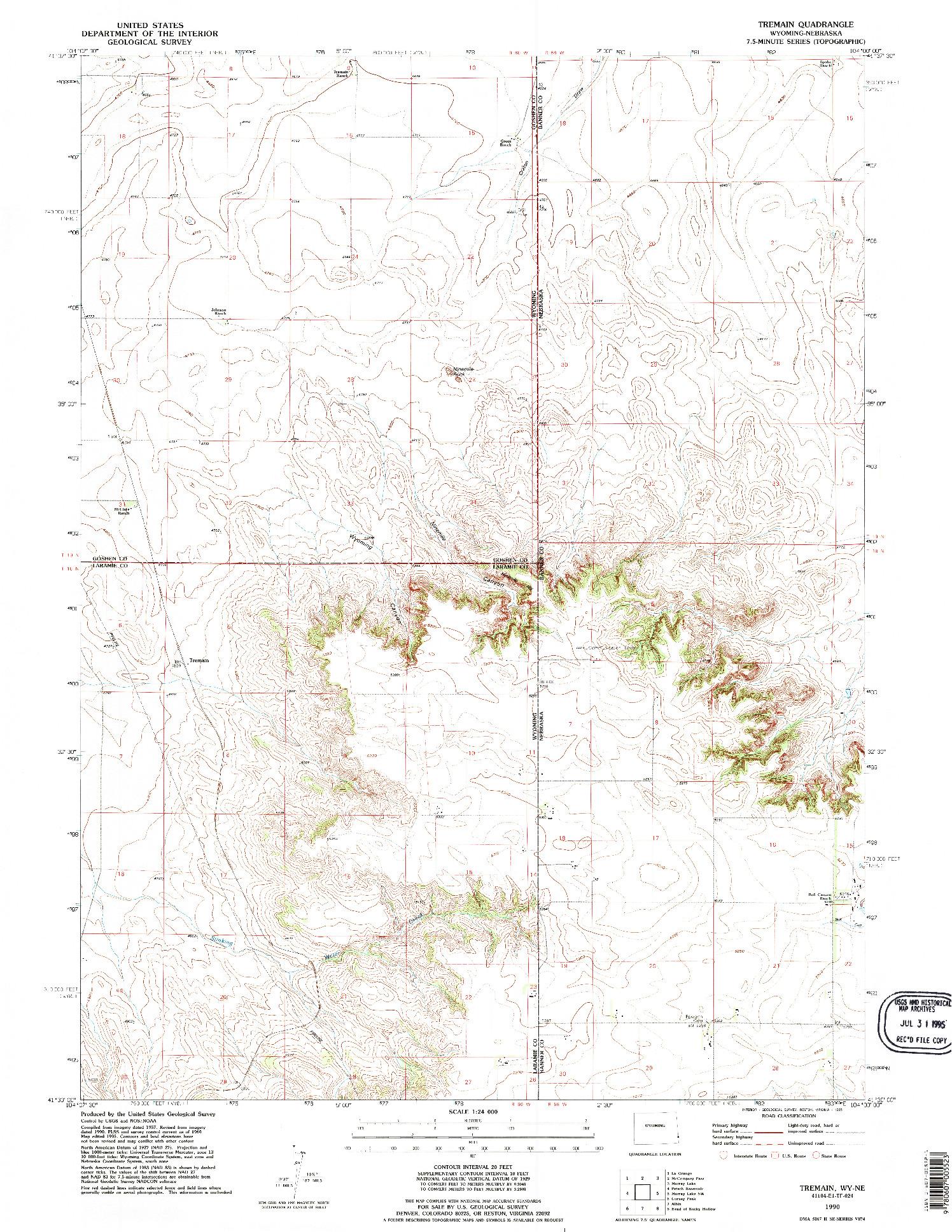 USGS 1:24000-SCALE QUADRANGLE FOR TREMAIN, WY 1990