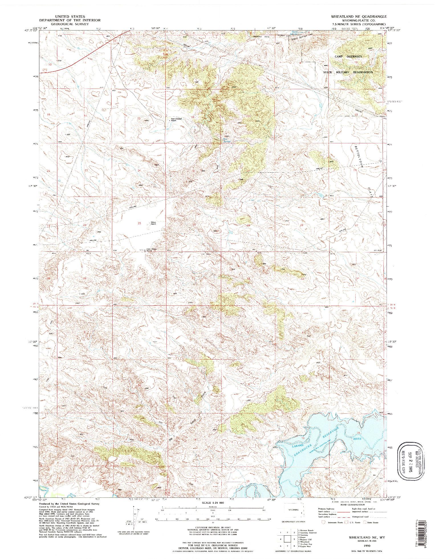 USGS 1:24000-SCALE QUADRANGLE FOR WHEATLAND NE, WY 1990
