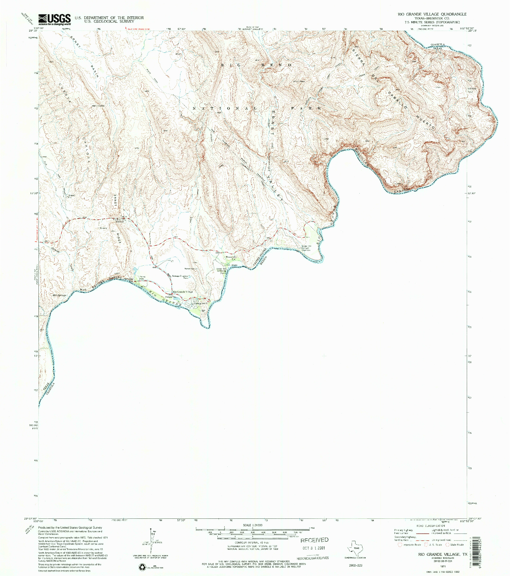 USGS 1:24000-SCALE QUADRANGLE FOR RIO GRANDE VILLAGE, TX 1971