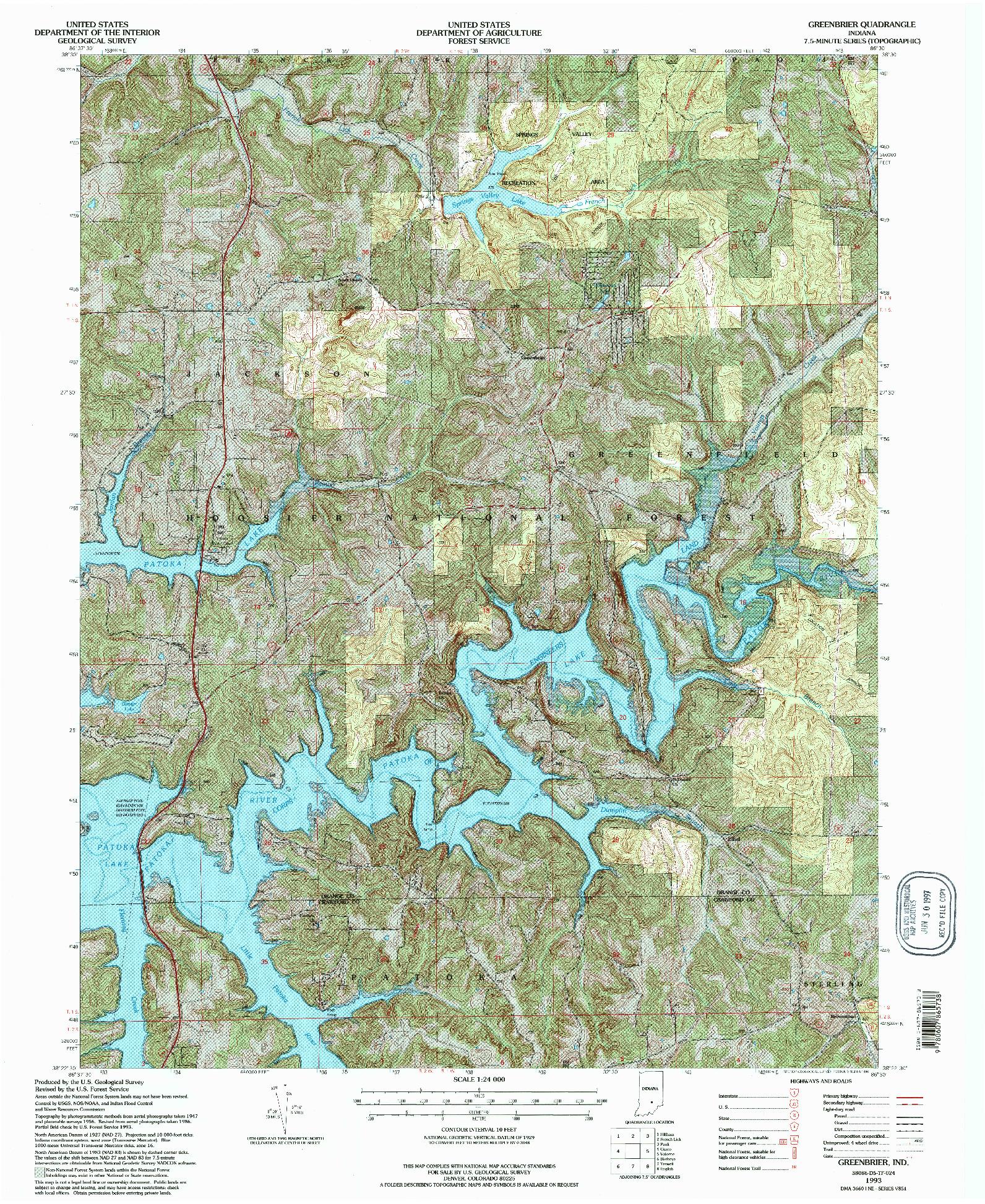 USGS 1:24000-SCALE QUADRANGLE FOR GREENBRIER, IN 1993