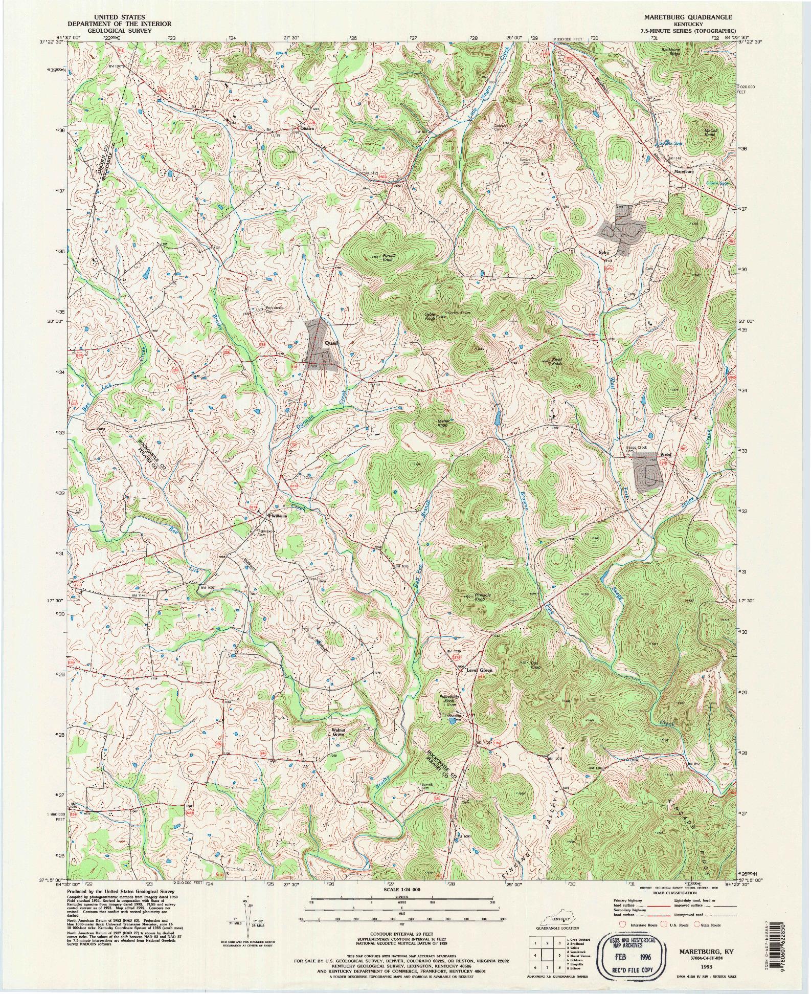 USGS 1:24000-SCALE QUADRANGLE FOR MARETBURG, KY 1993