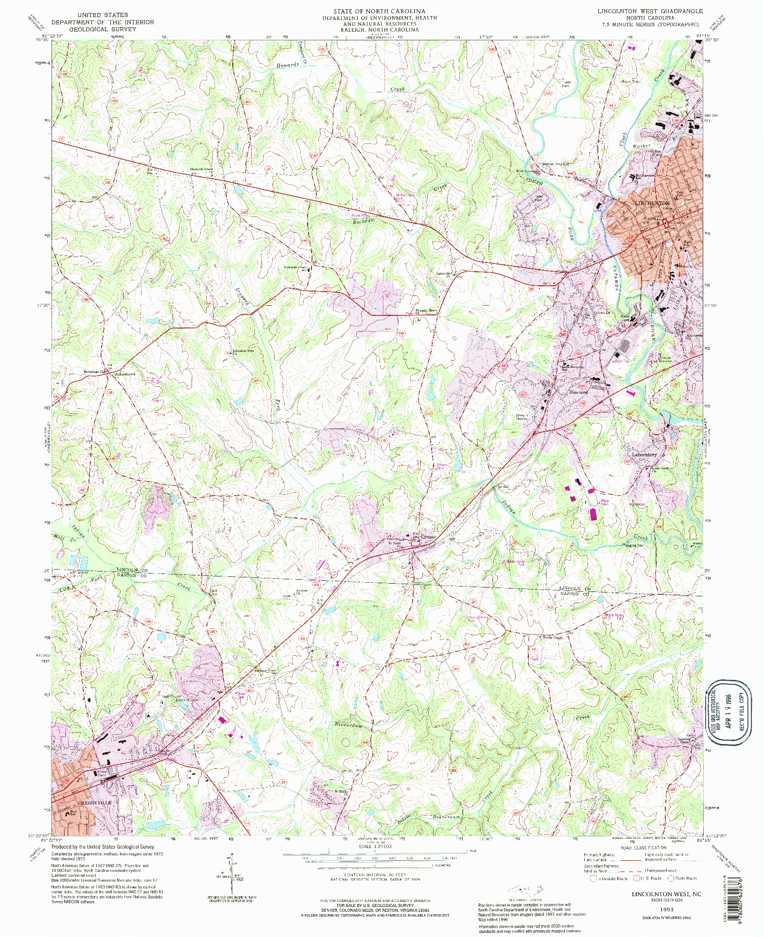 USGS 1:24000-SCALE QUADRANGLE FOR LINCOLNTON WEST, NC 1993