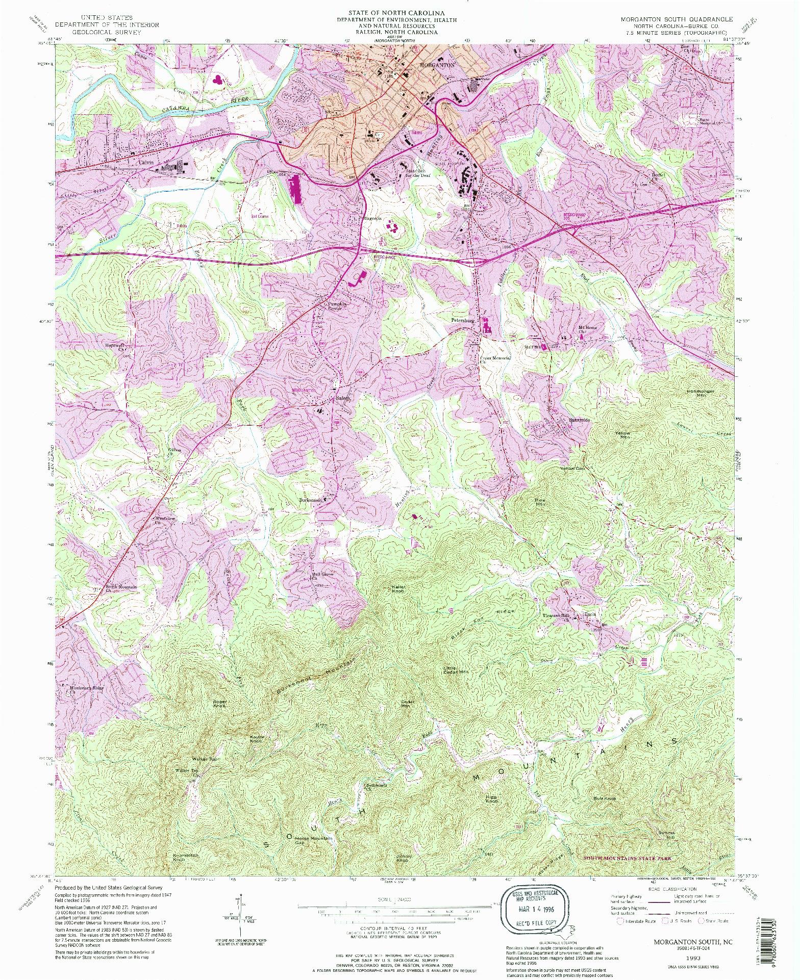 USGS 1:24000-SCALE QUADRANGLE FOR MORGANTON SOUTH, NC 1993