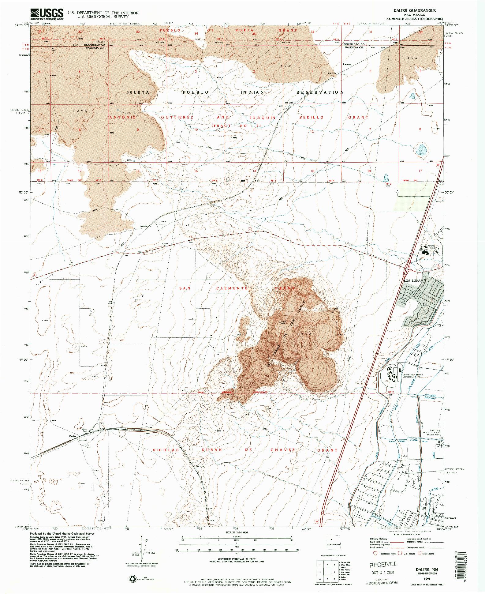 USGS 1:24000-SCALE QUADRANGLE FOR DALIES, NM 1991