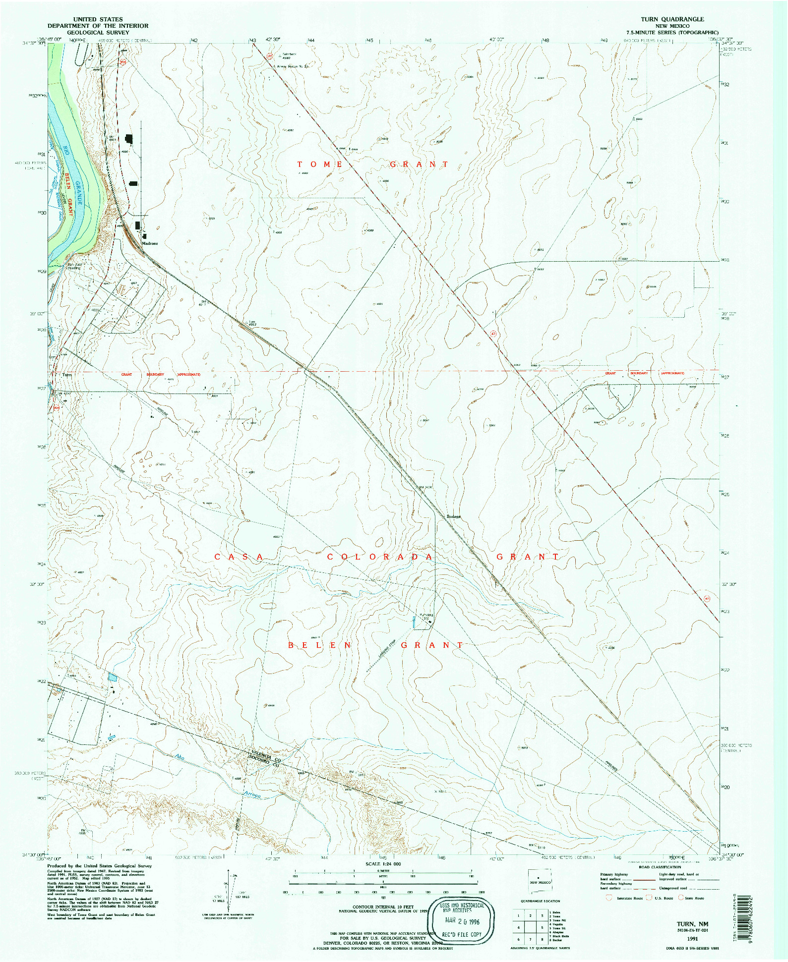USGS 1:24000-SCALE QUADRANGLE FOR TURN, NM 1991