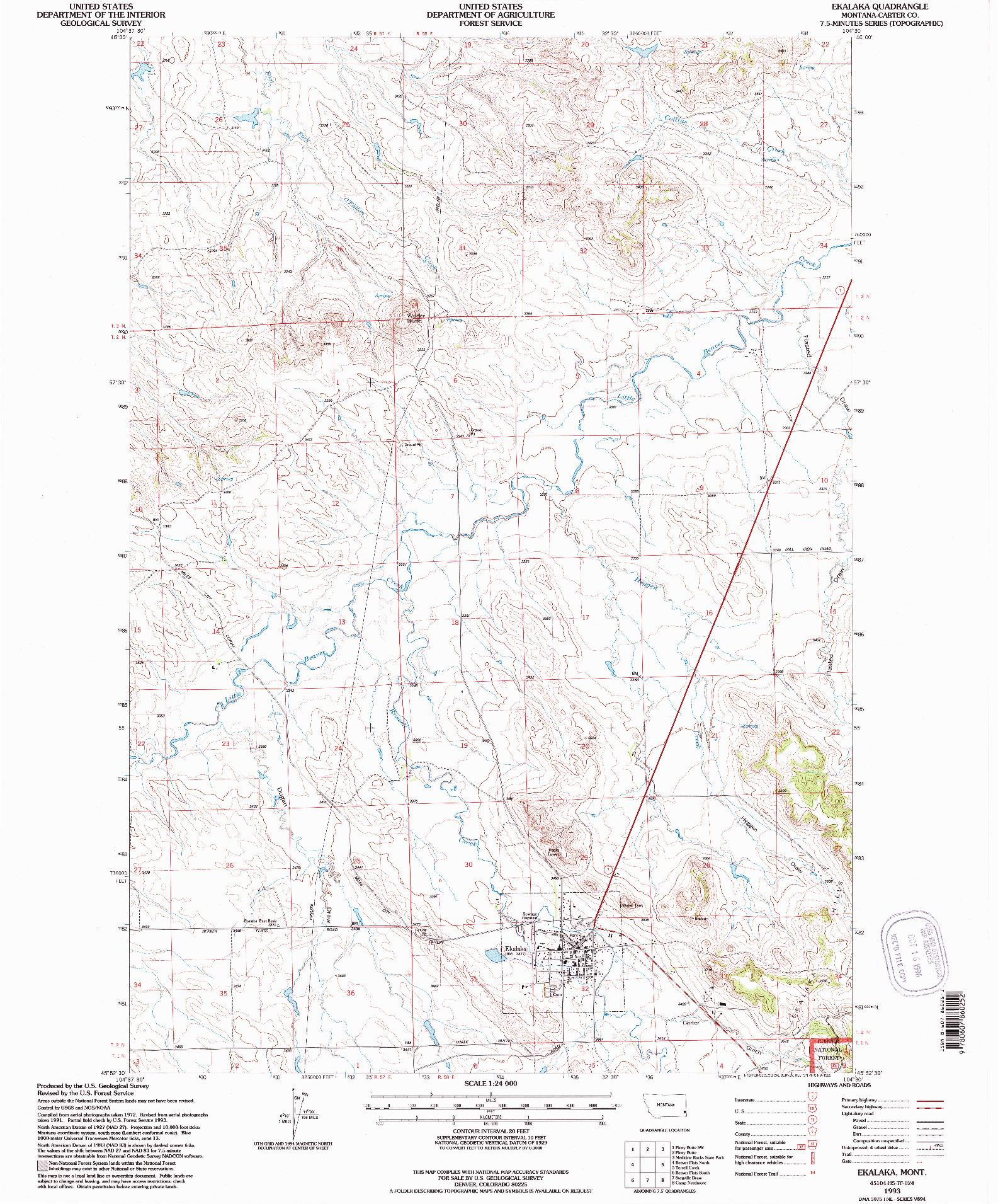 USGS 1:24000-SCALE QUADRANGLE FOR EKALAKA, MT 1993