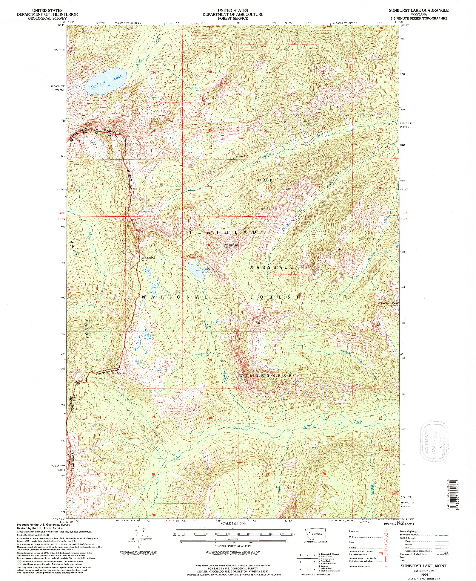 USGS 1:24000-SCALE QUADRANGLE FOR SUNBURST LAKE, MT 1994
