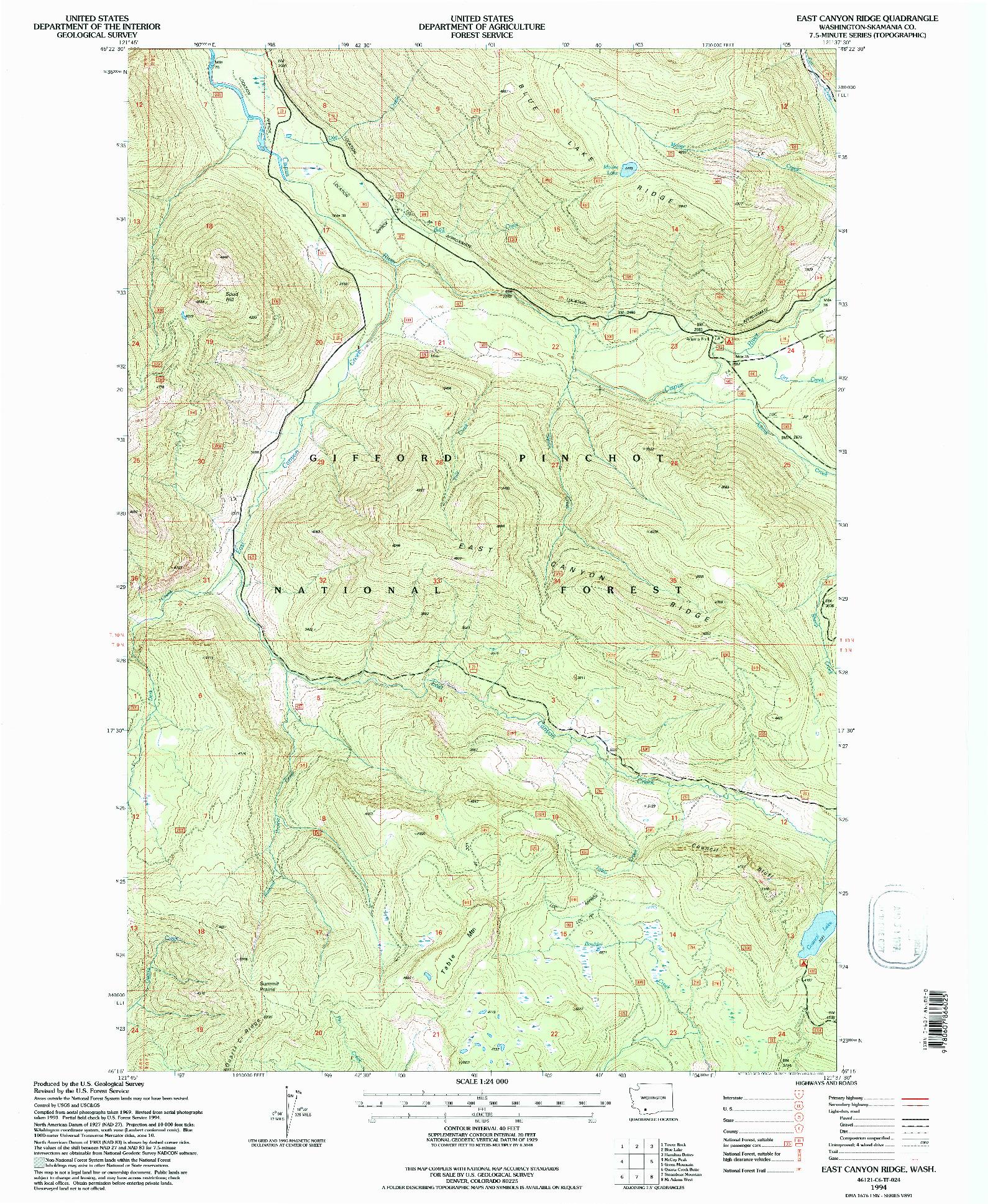 USGS 1:24000-SCALE QUADRANGLE FOR EAST CANYON RIDGE, WA 1994